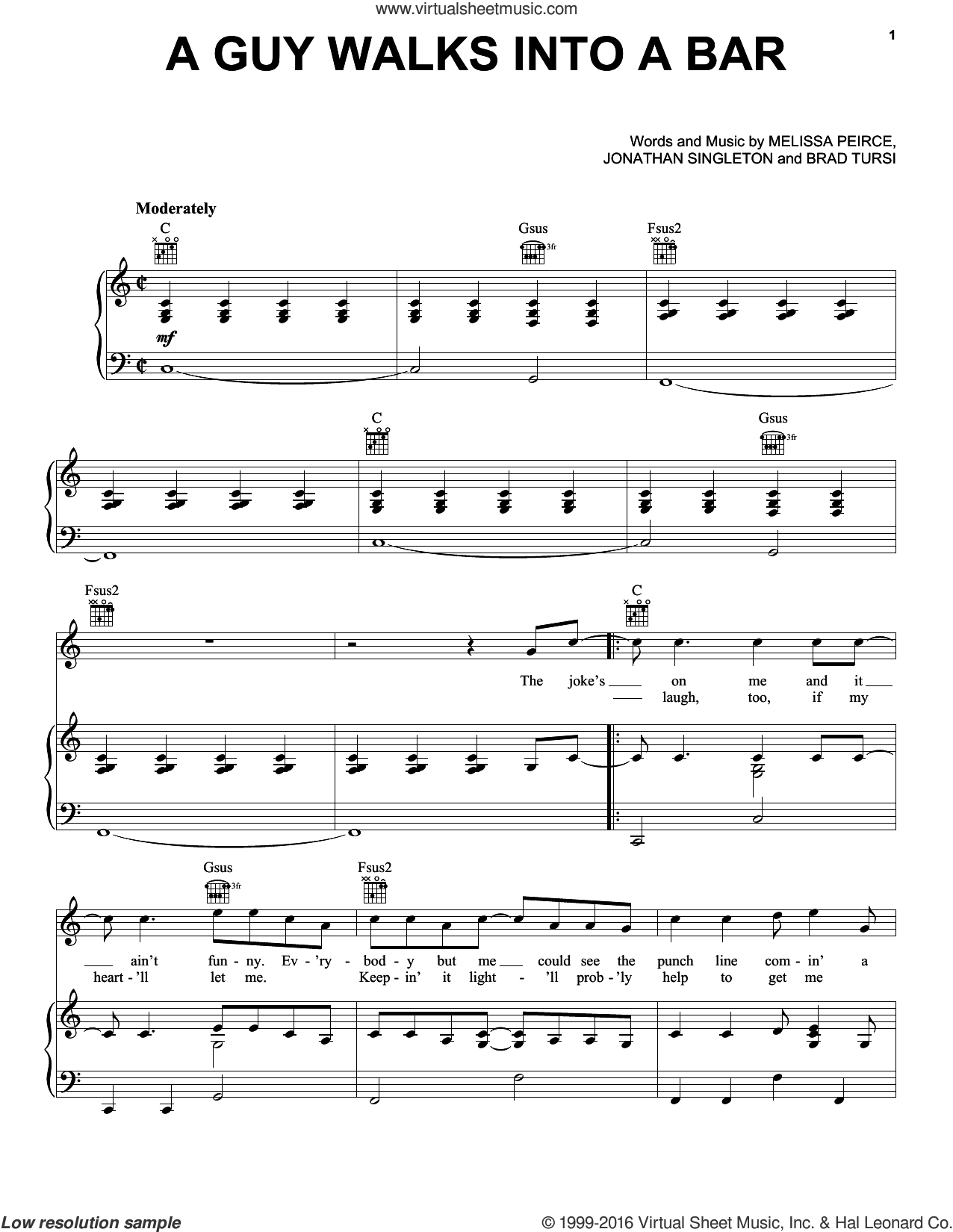 Guy Walks Into A Bar sheet music for voice, piano or guitar by Melissa Peirce, Brad Tursi and Jonathan Singleton. Score Image Preview.