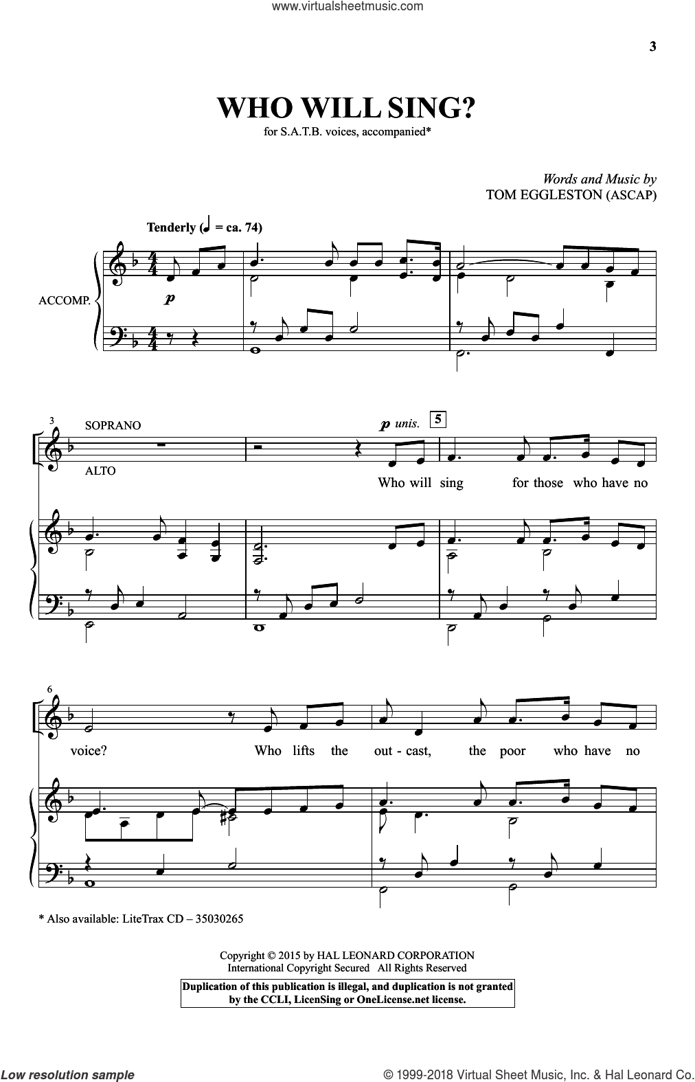 Who Will Sing? sheet music for choir (SATB: soprano, alto, tenor, bass) by Tom Eggleston, intermediate. Score Image Preview.