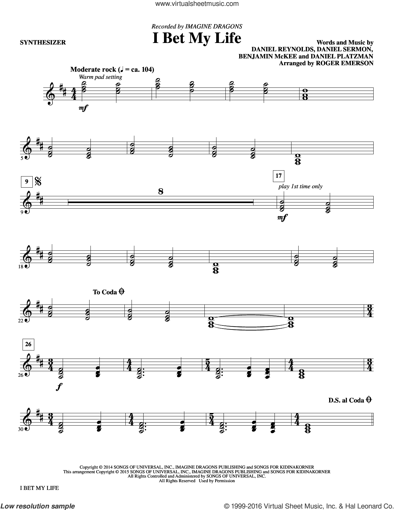 I Bet My Life (COMPLETE) sheet music for orchestra by Daniel Sermon, Daniel Reynolds, Imagine Dragons and Roger Emerson. Score Image Preview.