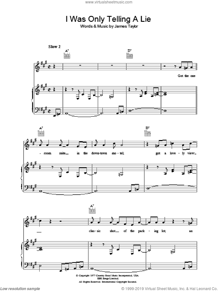 I Was Only Telling A Lie sheet music for voice, piano or guitar by James Taylor. Score Image Preview.