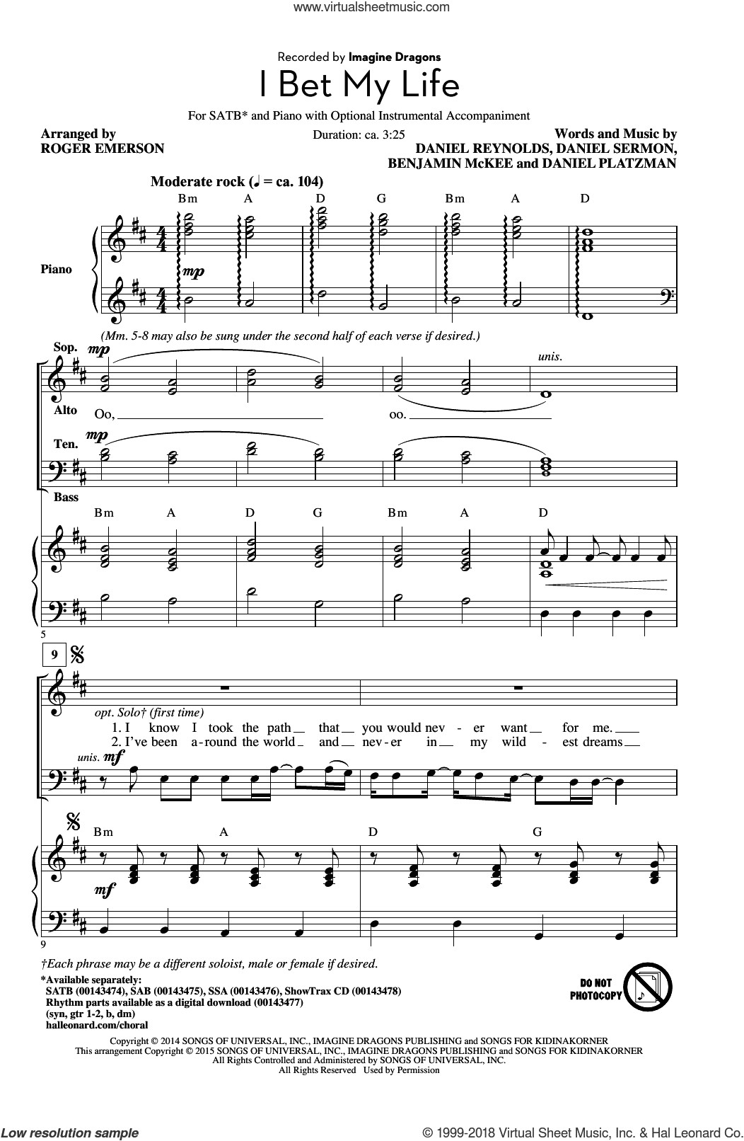 I Bet My Life sheet music for choir (SATB) by Roger Emerson and Imagine Dragons. Score Image Preview.
