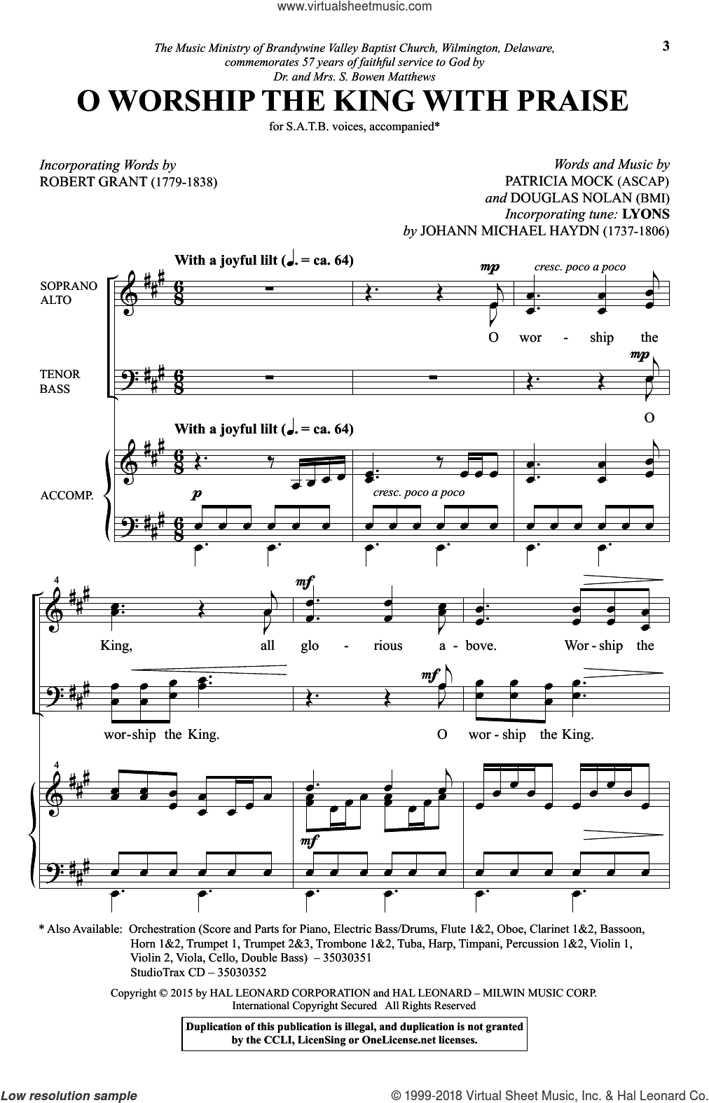 O Worship The King With Praise sheet music for choir (SATB) by Patricia Mock and Douglas Nolan. Score Image Preview.