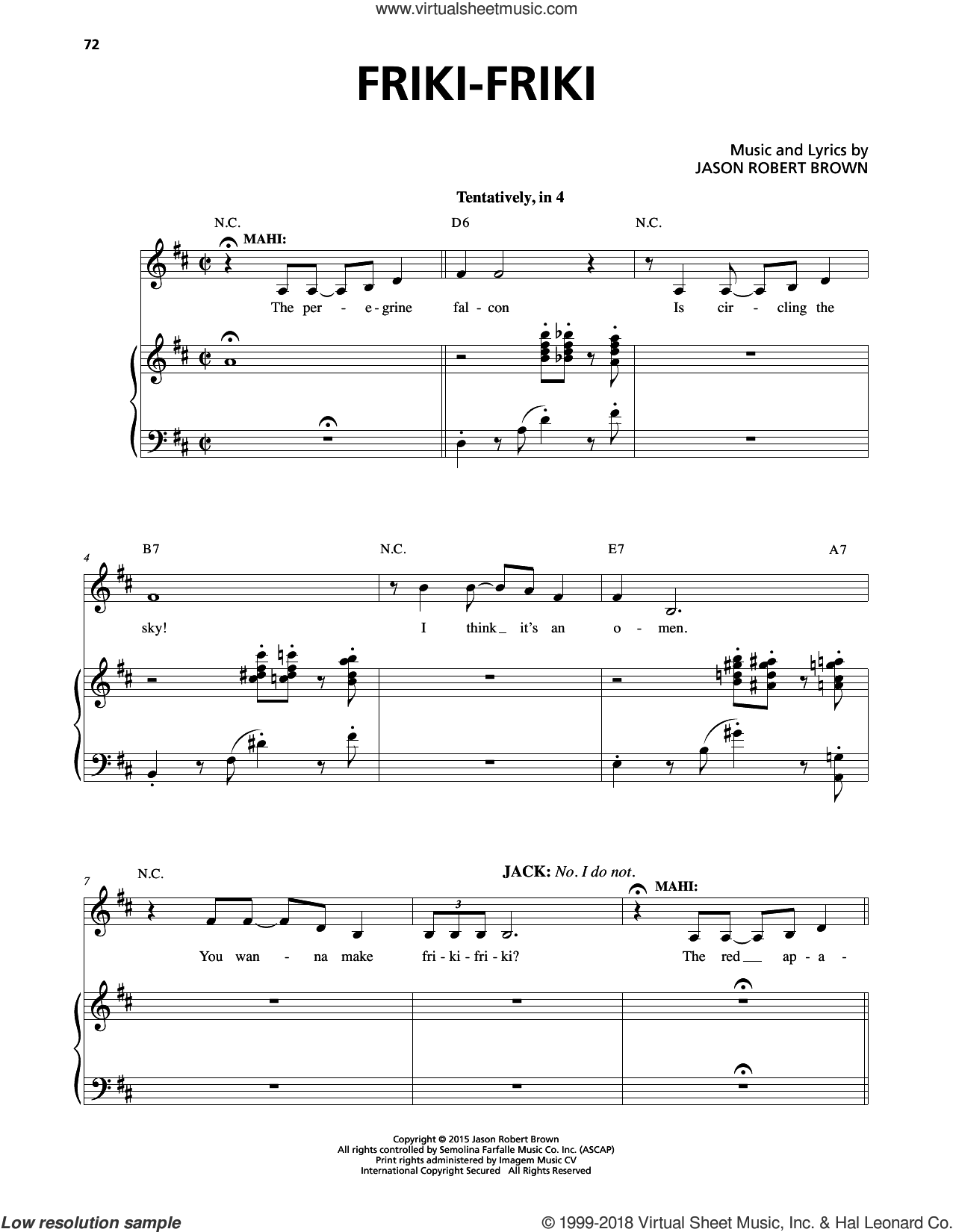 Friki-Friki (from Honeymoon In Vegas) Sheet Music