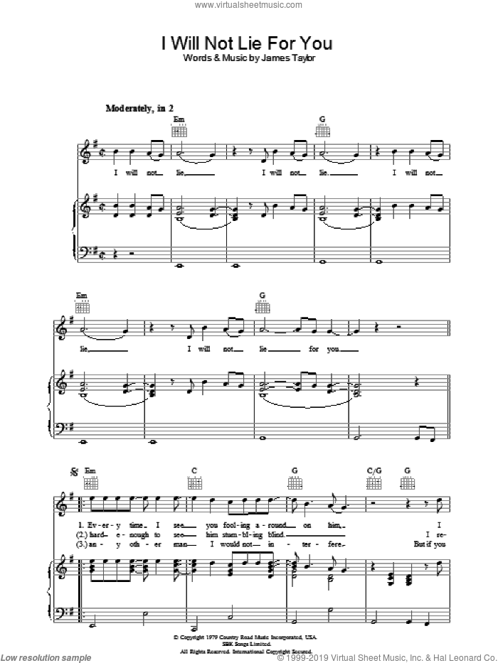 I Will Not Lie For You sheet music for voice, piano or guitar by James Taylor, intermediate skill level