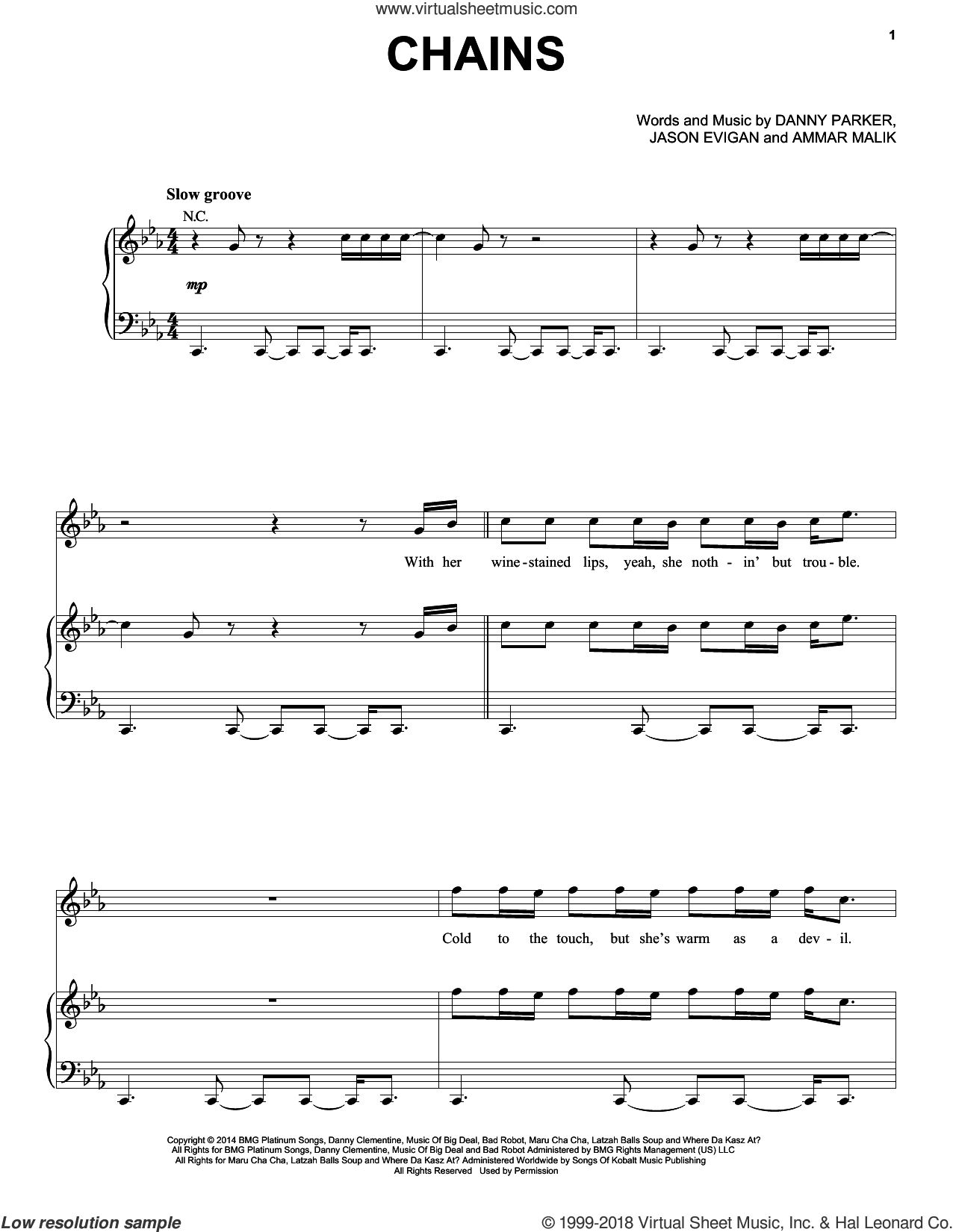 Chains sheet music for voice, piano or guitar by Jason Evigan and Ammar Malik. Score Image Preview.