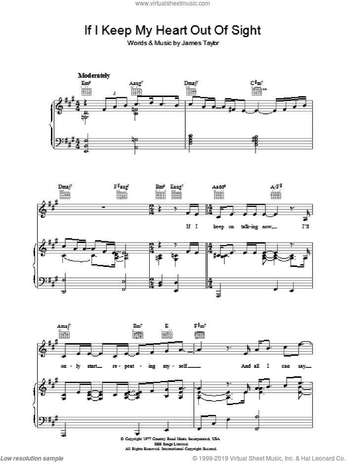 If I Keep My Heart Out Of Sight sheet music for voice, piano or guitar by James Taylor, intermediate. Score Image Preview.