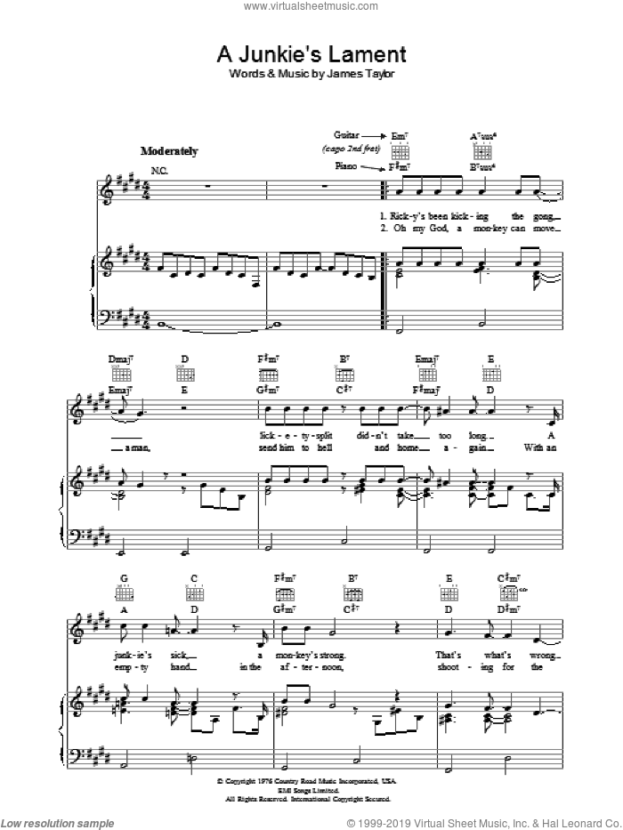 A Junkie's Lament sheet music for voice, piano or guitar by James Taylor, intermediate. Score Image Preview.