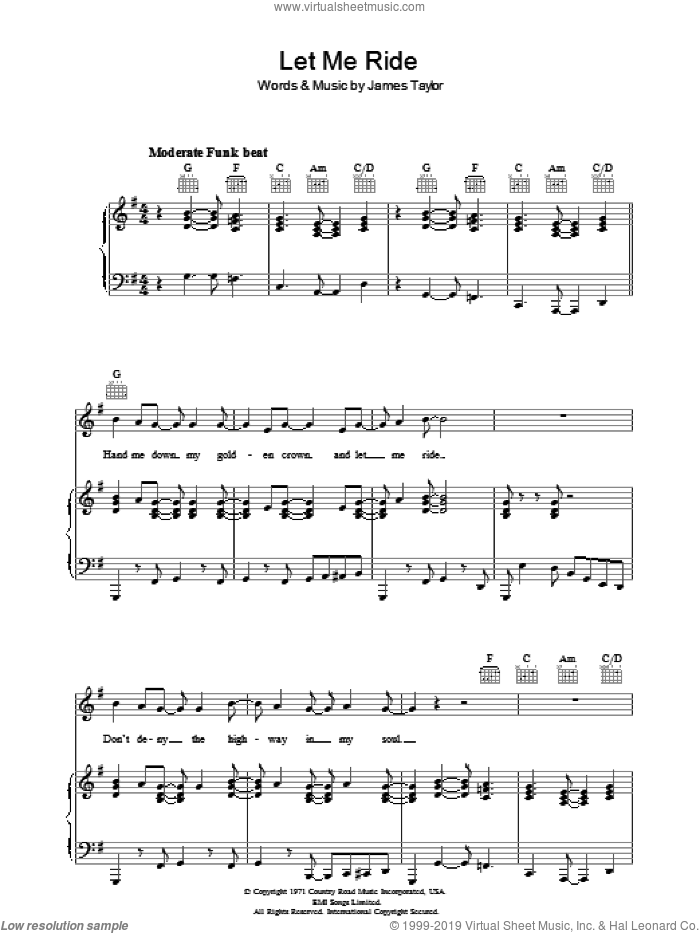 Let Me Ride sheet music for voice, piano or guitar by James Taylor