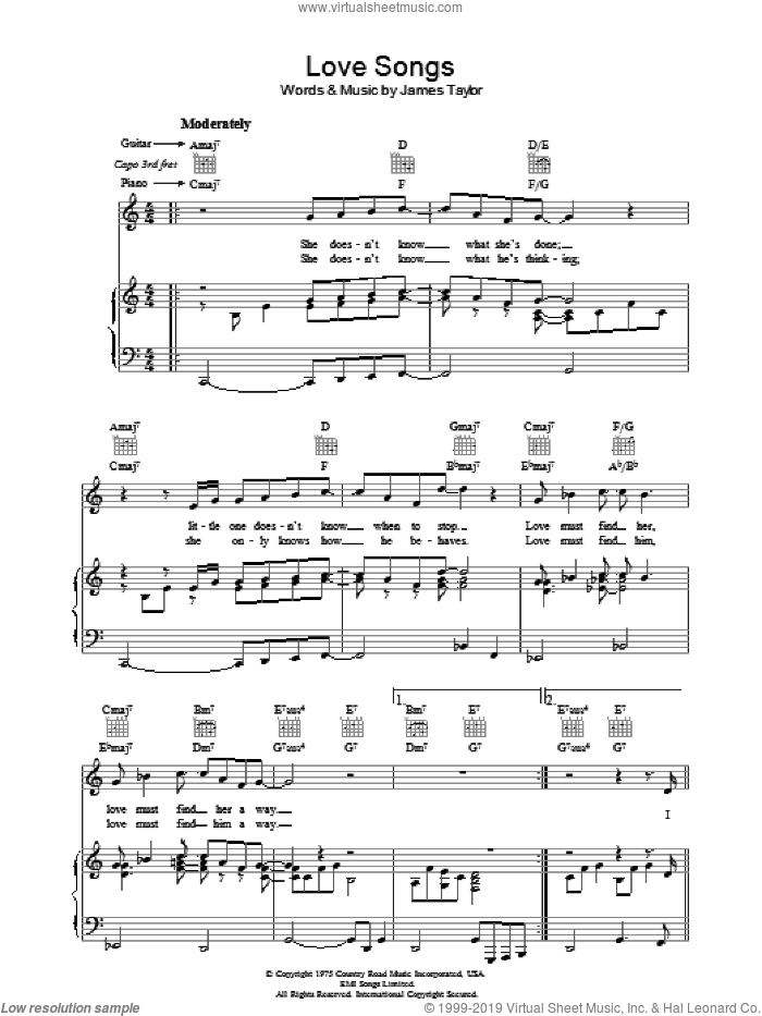Love Songs sheet music for voice, piano or guitar by James Taylor, intermediate voice, piano or guitar. Score Image Preview.