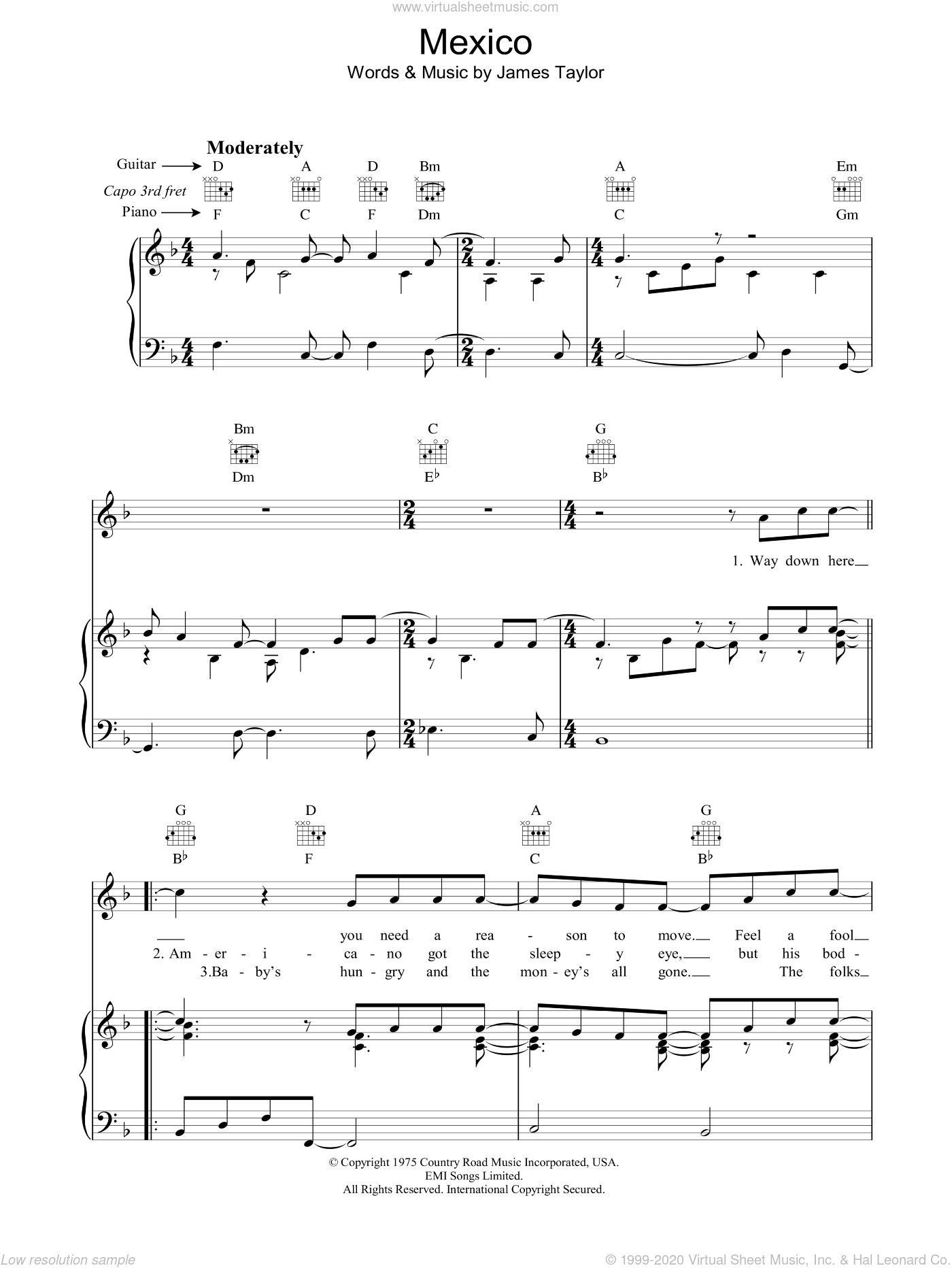 Mexico sheet music for voice, piano or guitar by James Taylor. Score Image Preview.
