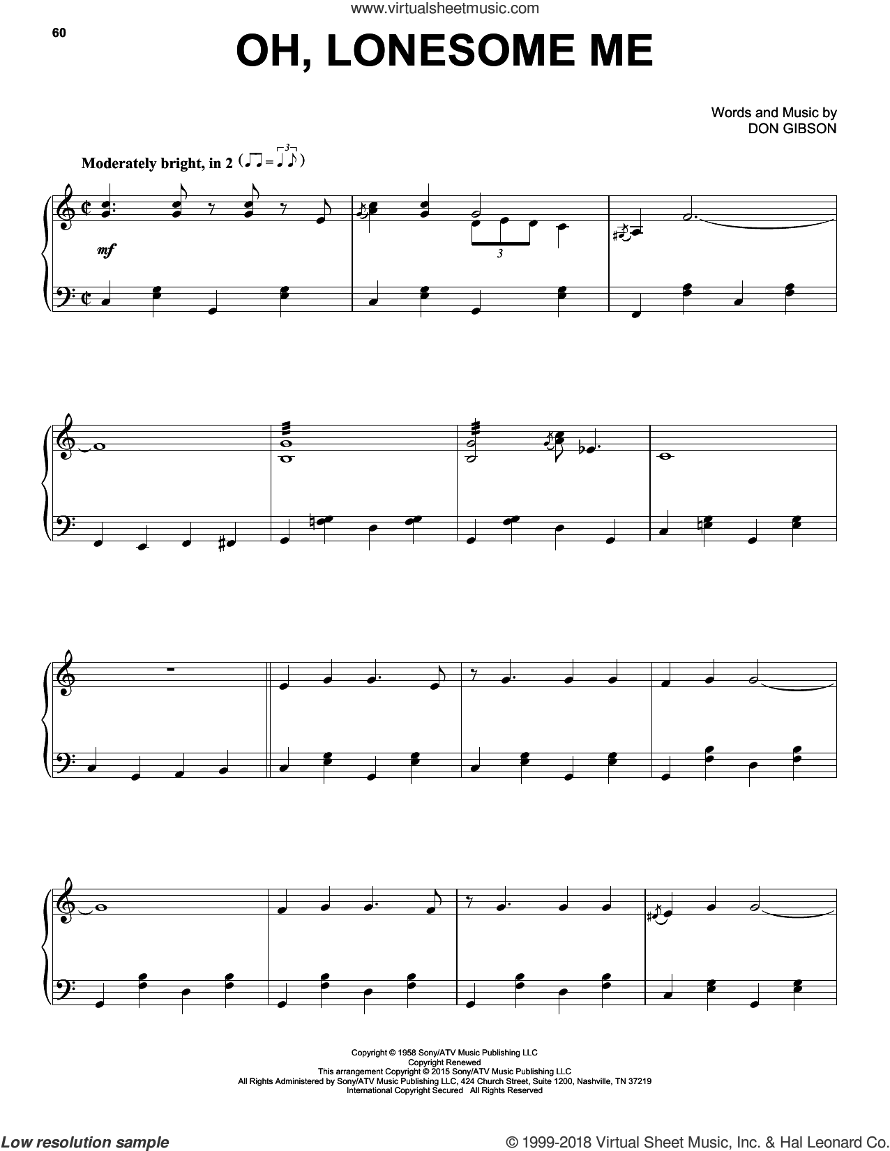 Oh, Lonesome Me sheet music for piano solo by Don Gibson and Neil Young, intermediate skill level