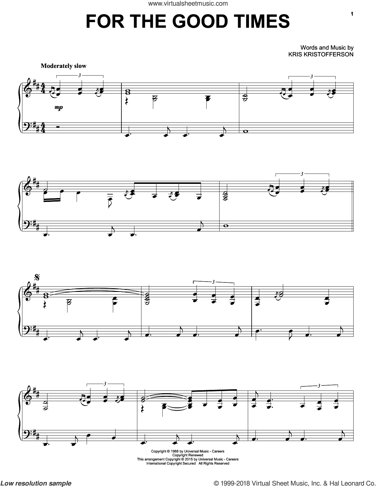 For The Good Times sheet music for piano solo by Kris Kristofferson, Elvis Presley and Ray Price, intermediate
