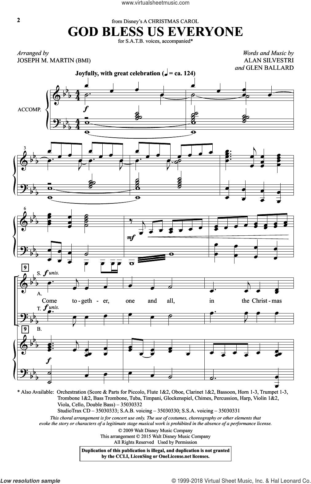 God Bless Us Everyone (from Disney's A Christmas Carol) sheet music for choir (SATB) by Joseph M. Martin, Alan Silvestri, Andrea Bocelli and Glen Ballard, Christmas carol score, intermediate choir (SATB). Score Image Preview.