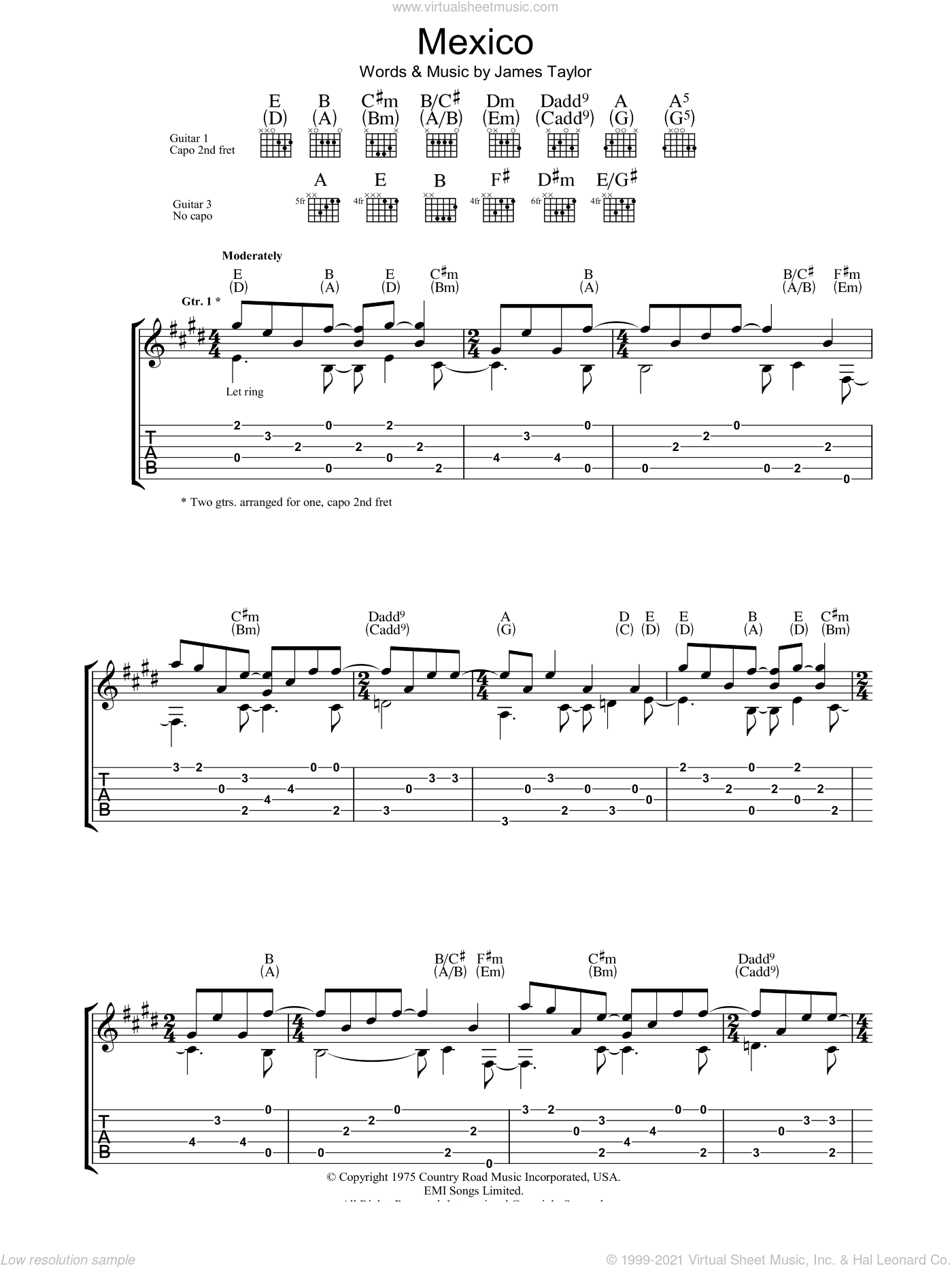 Mexico sheet music for guitar (tablature) by James Taylor, intermediate skill level