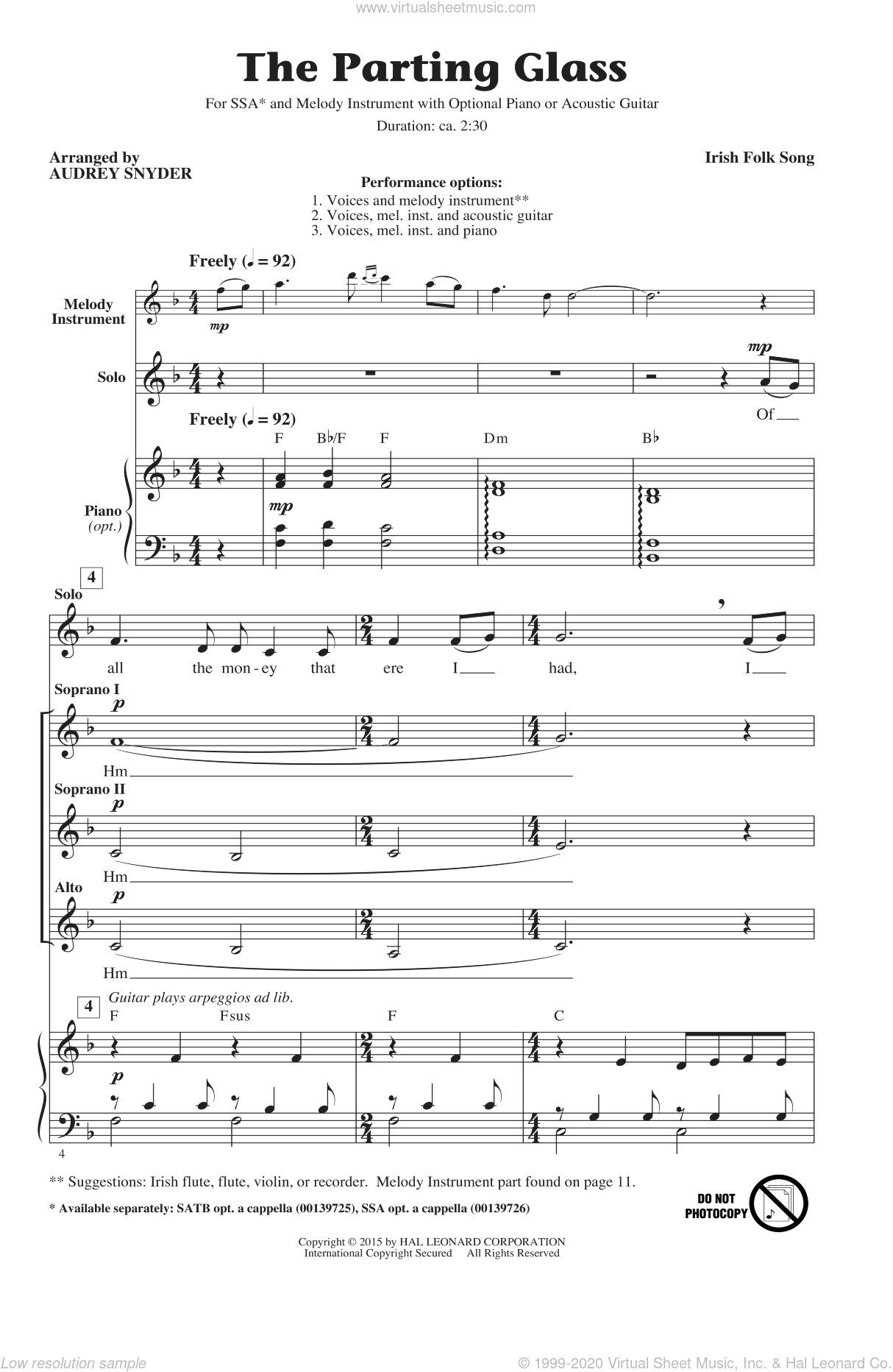 The Parting Glass sheet music for choir (soprano voice, alto voice, choir) by Audrey Snyder, intermediate. Score Image Preview.