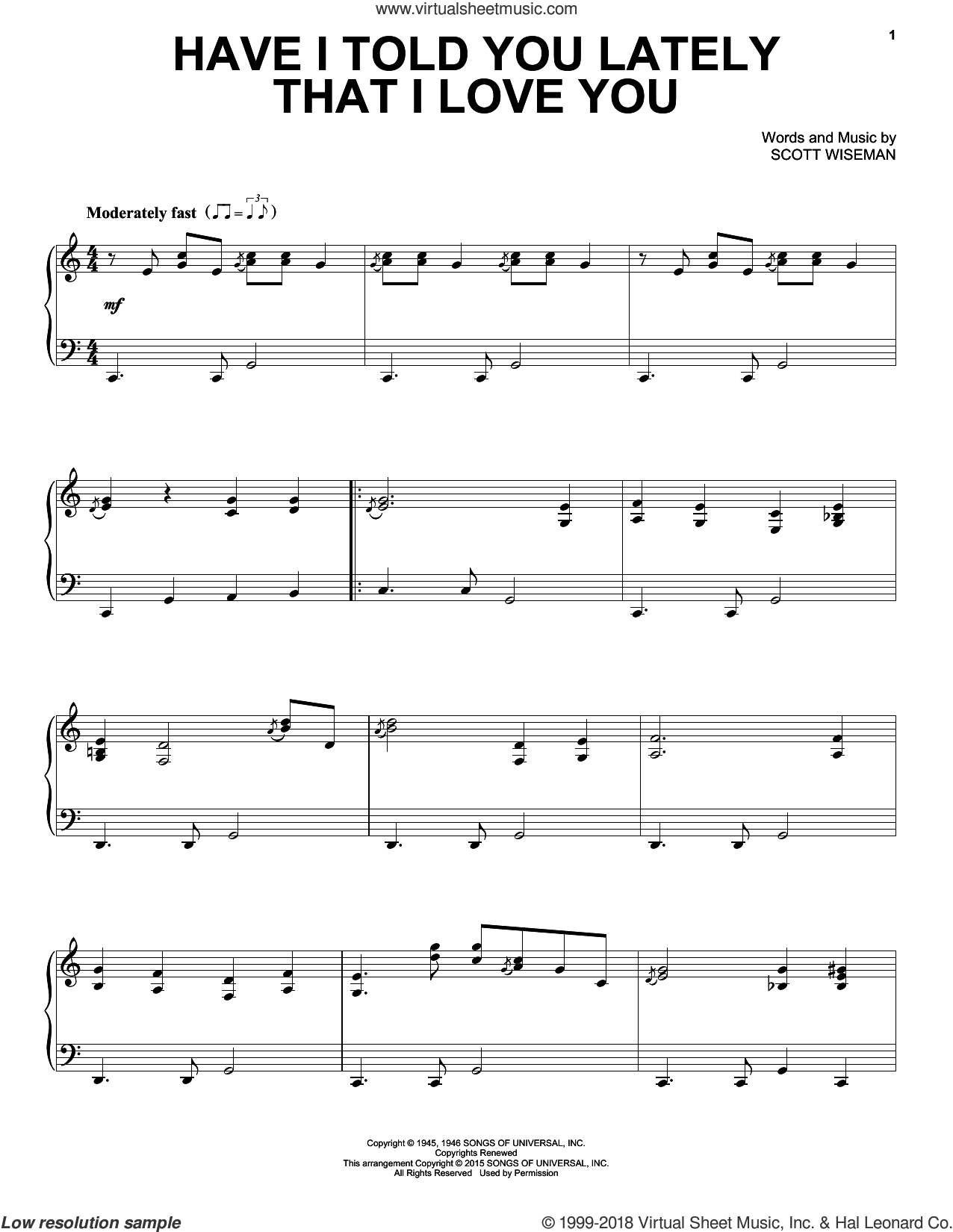 Have I Told You Lately That I Love You sheet music for piano solo by Scott Wiseman, Gene Autrey, Kitty Wells & Red Foley and Ricky Nelson, intermediate skill level