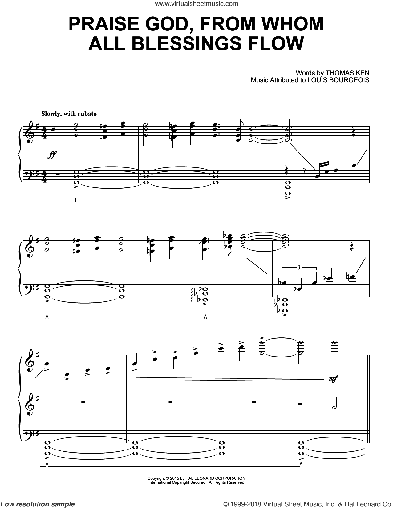 Praise God, From Whom All Blessings Flow sheet music for piano solo by Thomas Ken and Louis Bourgeois, intermediate skill level