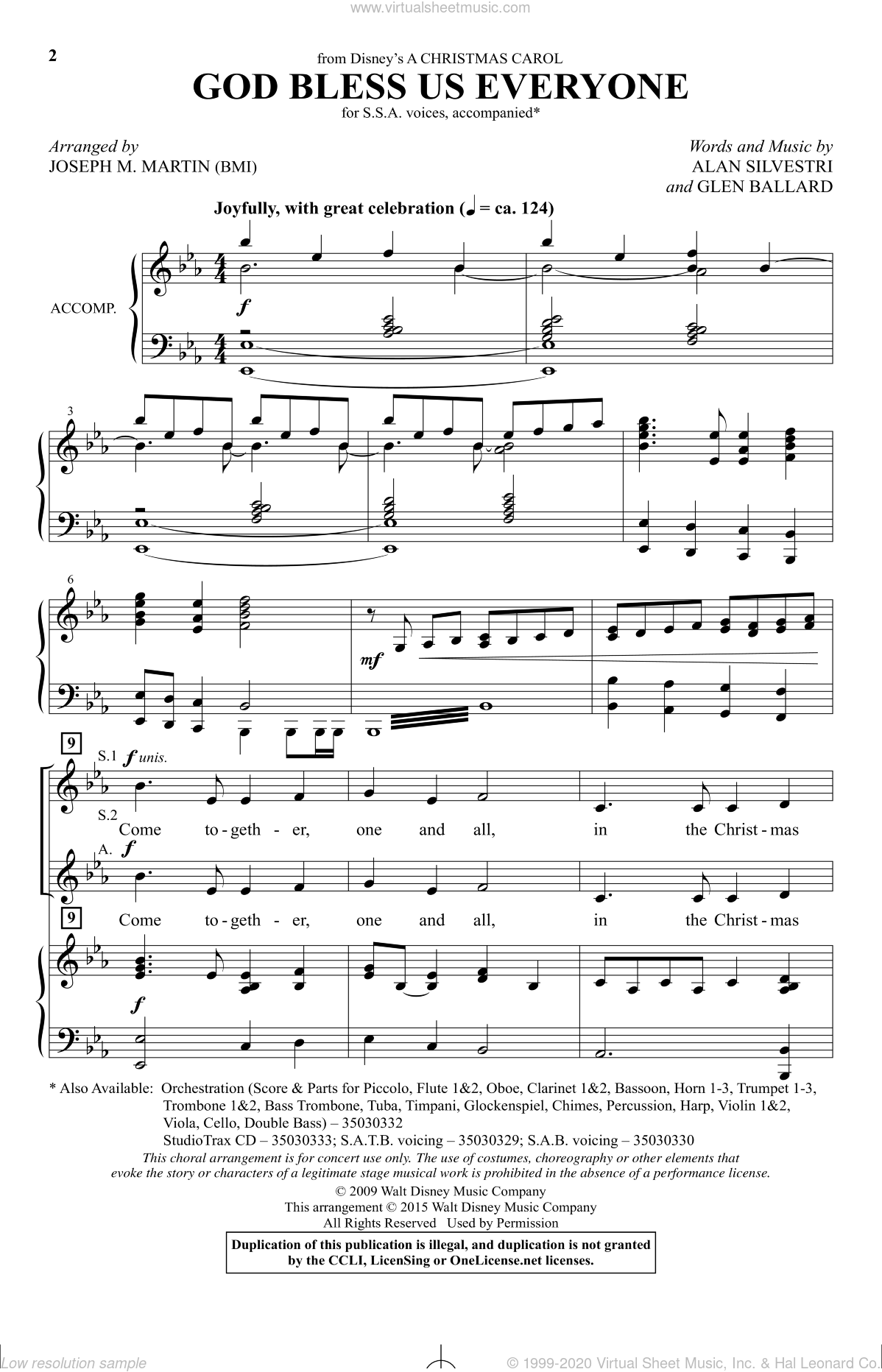 God Bless Us Everyone (from Disney's A Christmas Carol) sheet music for choir and piano (SSA) by Joseph M. Martin