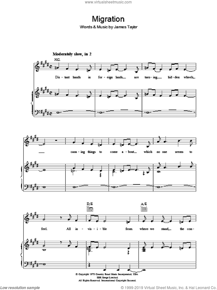 Migration sheet music for voice, piano or guitar by James Taylor, intermediate. Score Image Preview.