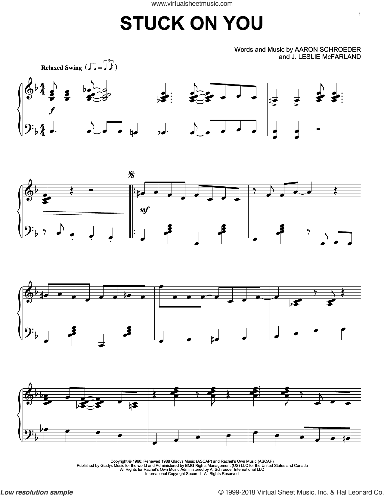 Stuck On You sheet music for piano solo by Elvis Presley, Aaron Schroeder and J. Leslie McFarland, intermediate skill level