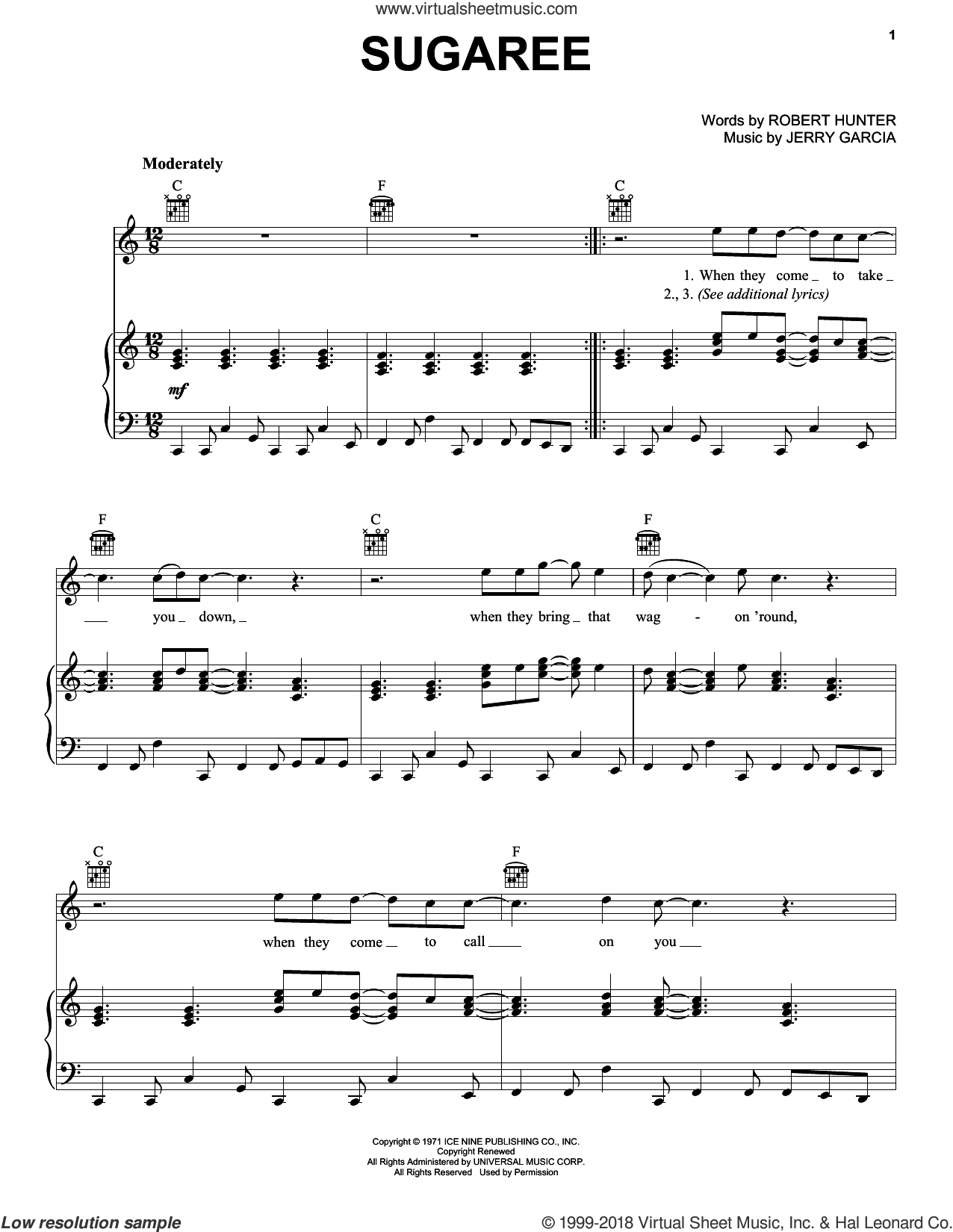 Sugaree sheet music for voice, piano or guitar by Grateful Dead, intermediate. Score Image Preview.