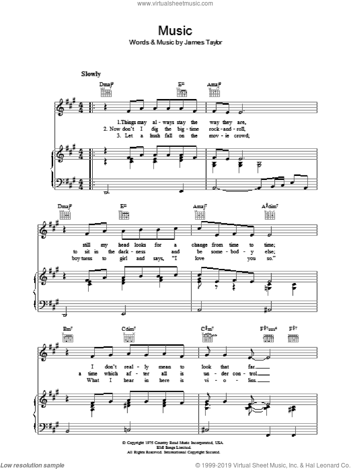 Music sheet music for voice, piano or guitar by James Taylor