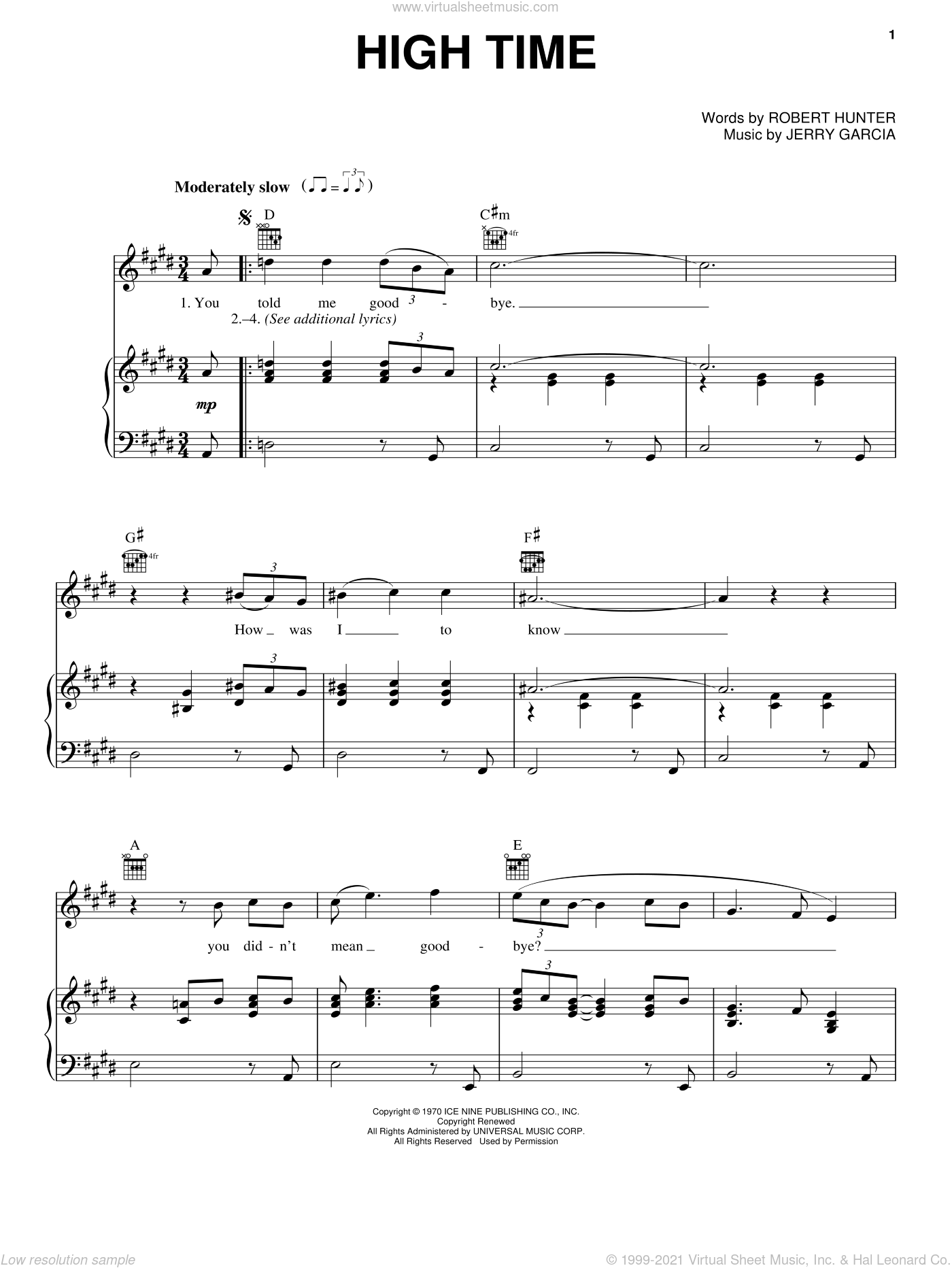 High Time sheet music for voice, piano or guitar by Robert Hunter and Grateful Dead. Score Image Preview.