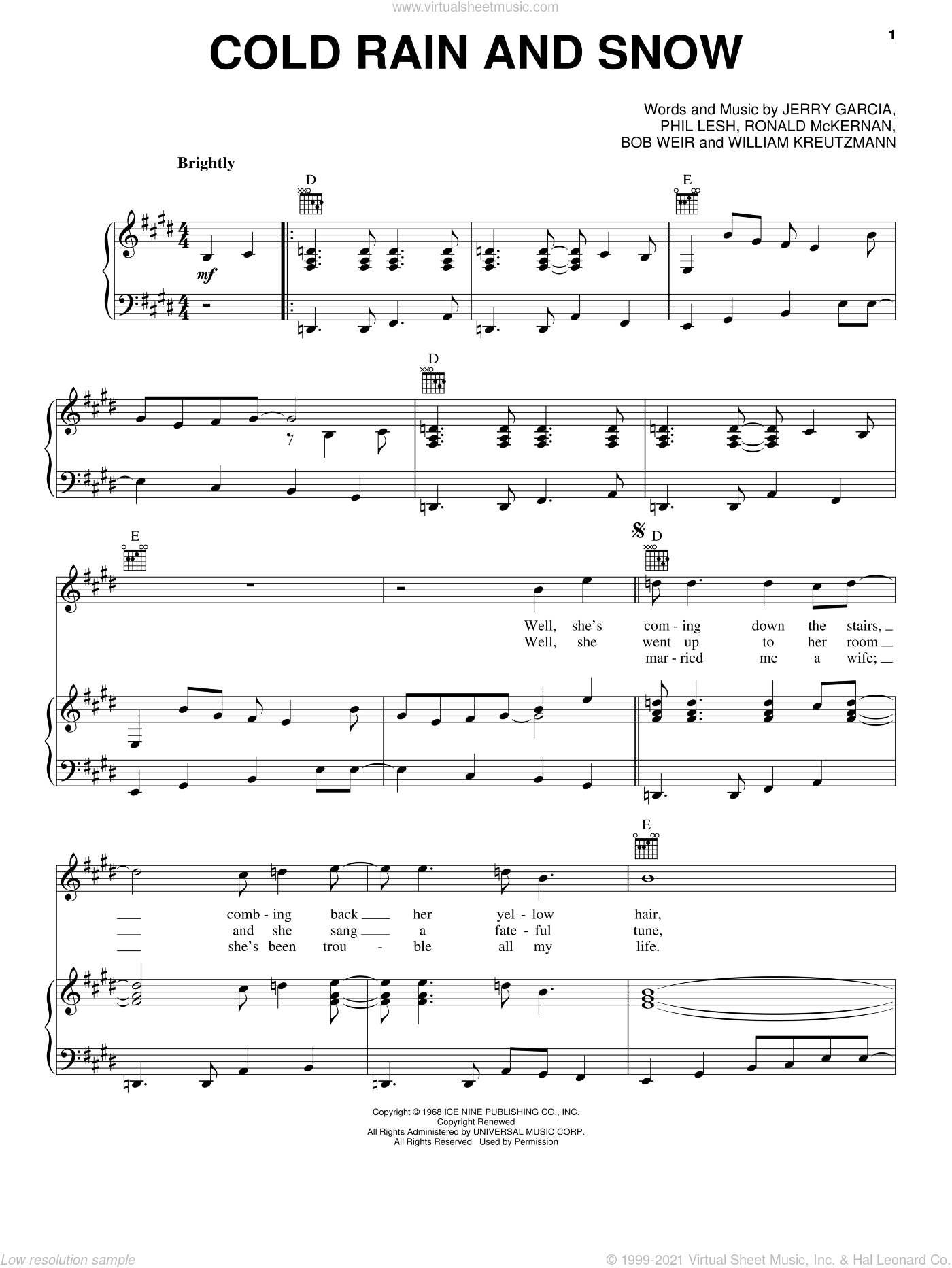 Cold Rain And Snow sheet music for voice, piano or guitar by Grateful Dead, intermediate voice, piano or guitar. Score Image Preview.