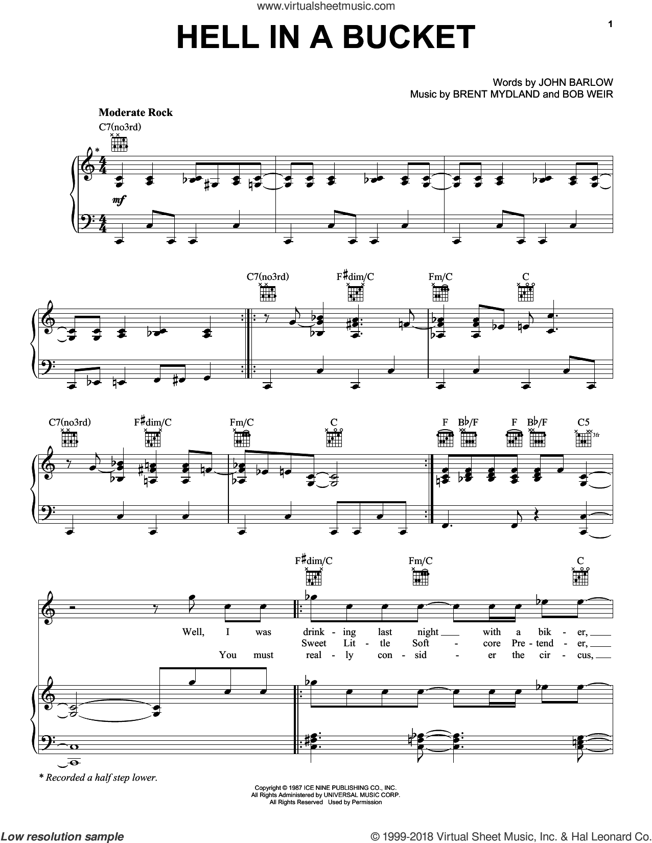 Hell In A Bucket sheet music for voice, piano or guitar by John Barlow, Bob Weir, Brent Mydland and Grateful Dead. Score Image Preview.