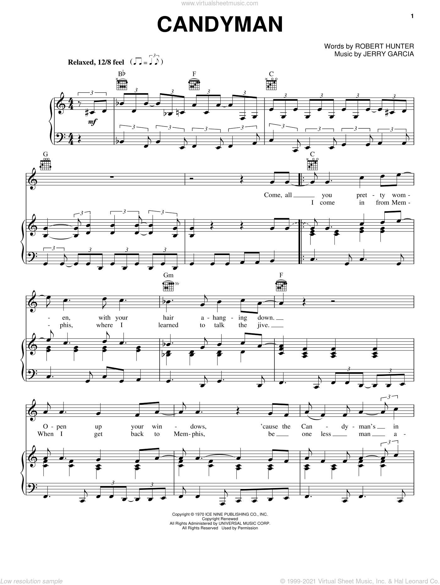 Candyman sheet music for voice, piano or guitar by Grateful Dead, Jerry Garcia and Robert Hunter, intermediate skill level