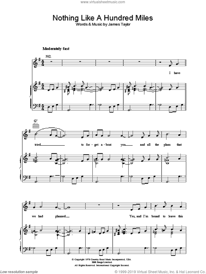 Nothing Like A Hundred Miles sheet music for voice, piano or guitar by James Taylor, intermediate. Score Image Preview.