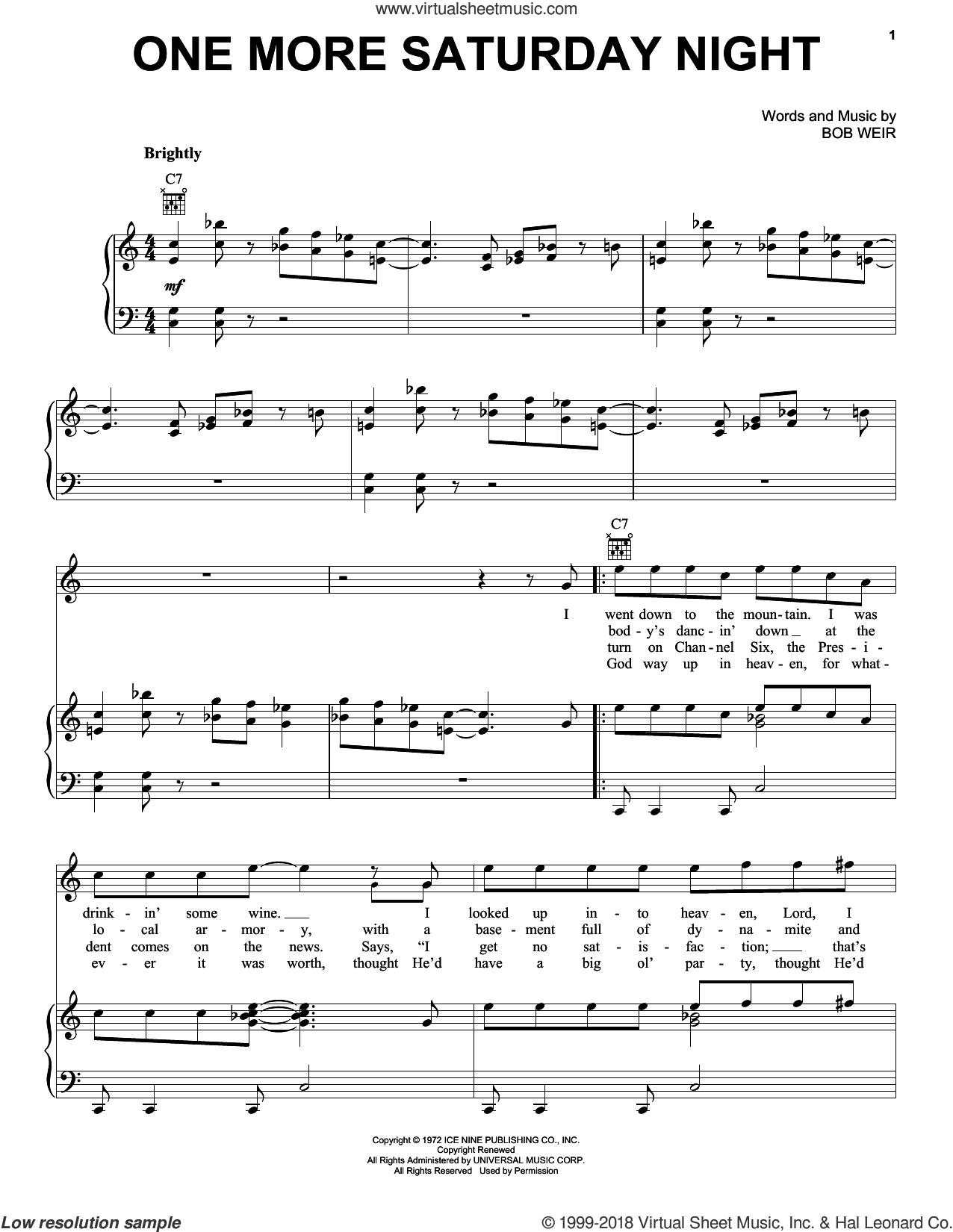 One More Saturday Night sheet music for voice, piano or guitar by Grateful Dead, intermediate. Score Image Preview.