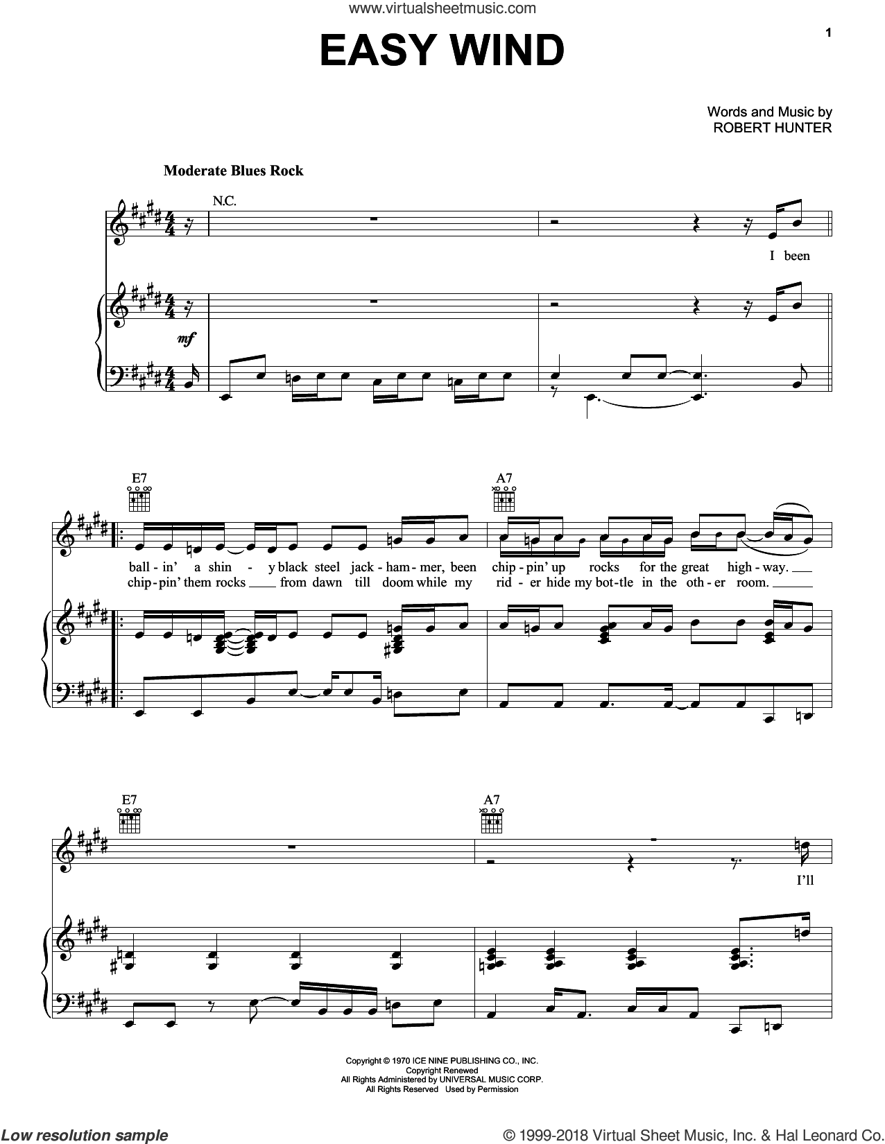 Easy Wind sheet music for voice, piano or guitar by Grateful Dead and Robert Hunter, intermediate skill level