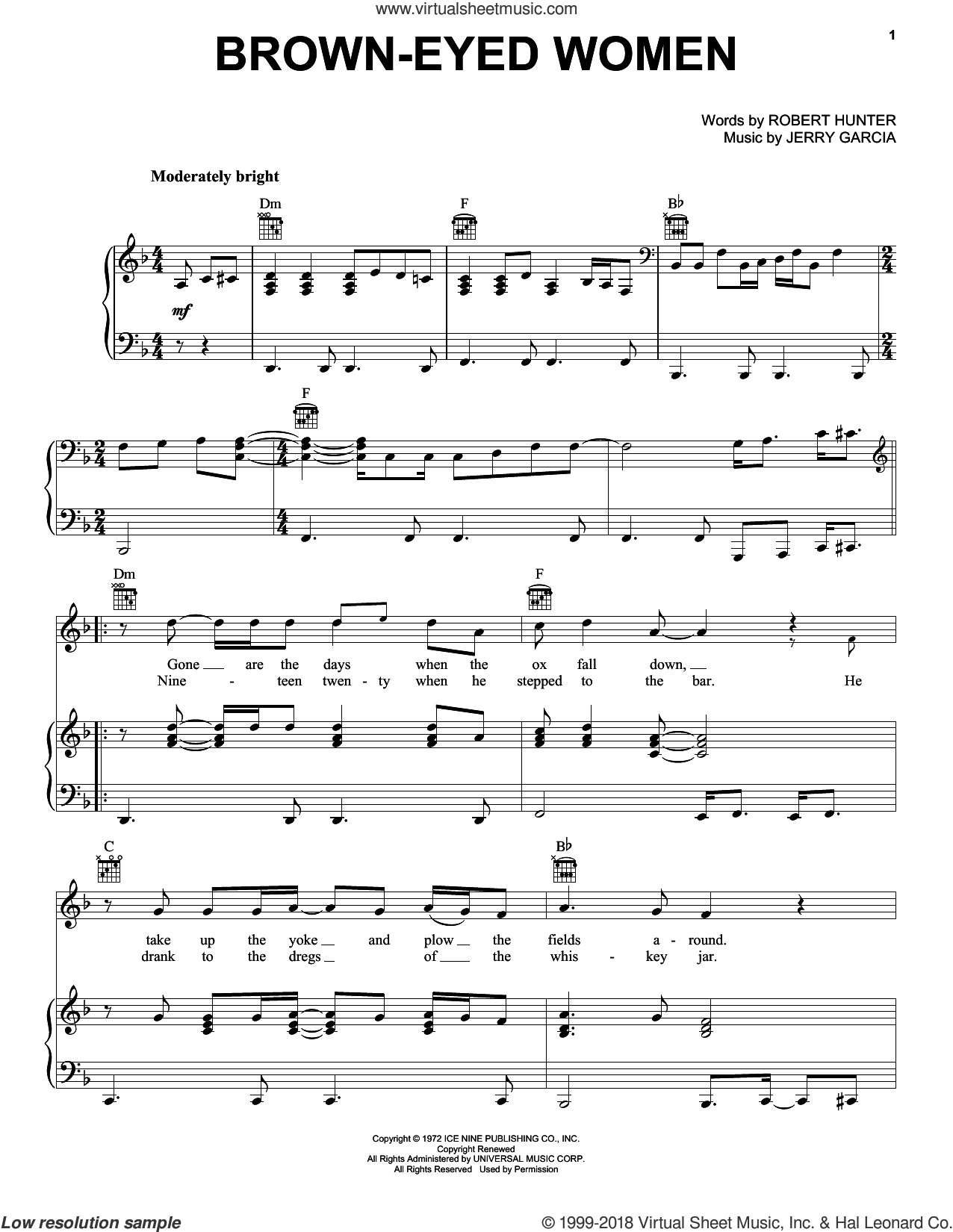 Brown-Eyed Women sheet music for voice, piano or guitar by Grateful Dead, Jerry Garcia and Robert Hunter, intermediate skill level