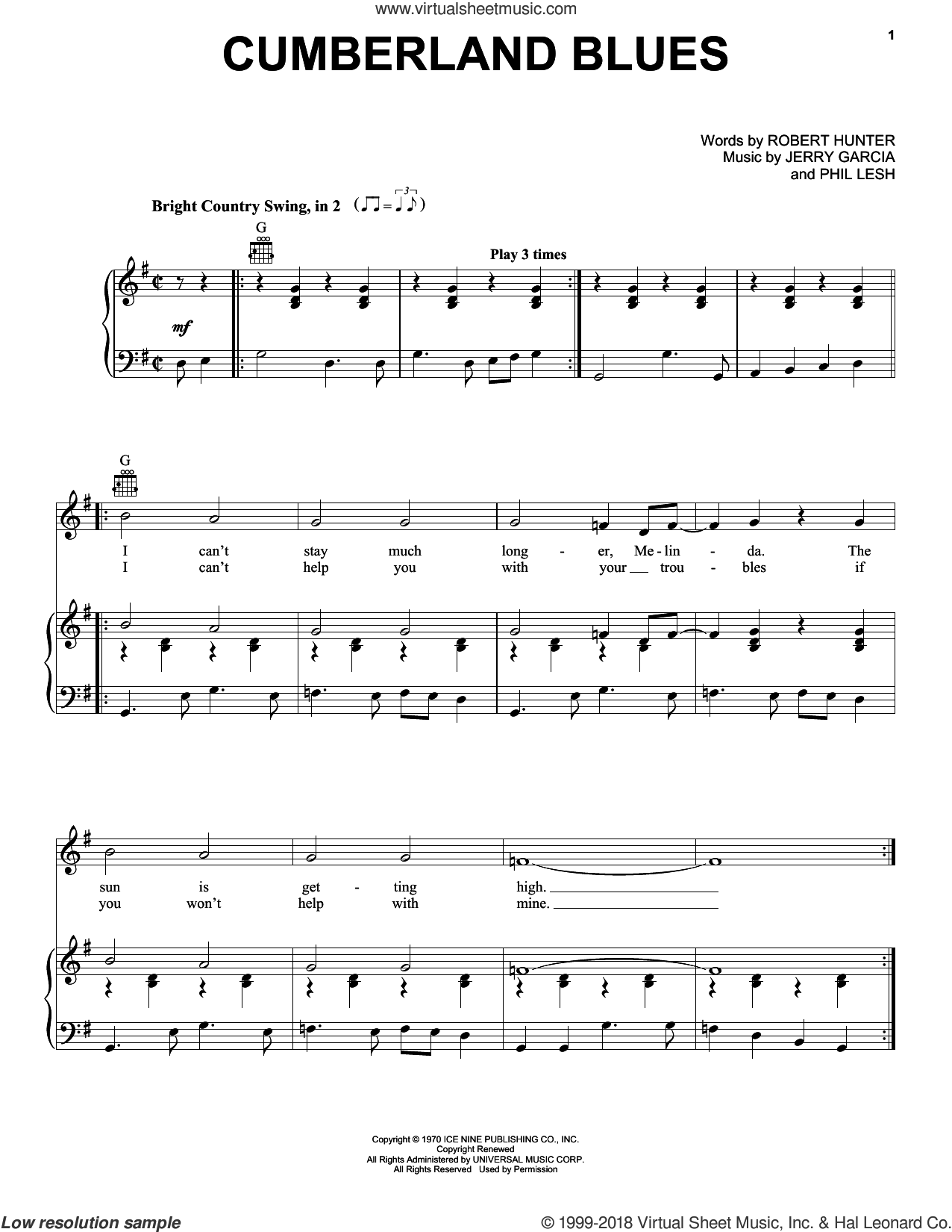Cumberland Blues sheet music for voice, piano or guitar by Grateful Dead, Jerry Garcia, Phil Lesh and Robert Hunter, intermediate skill level