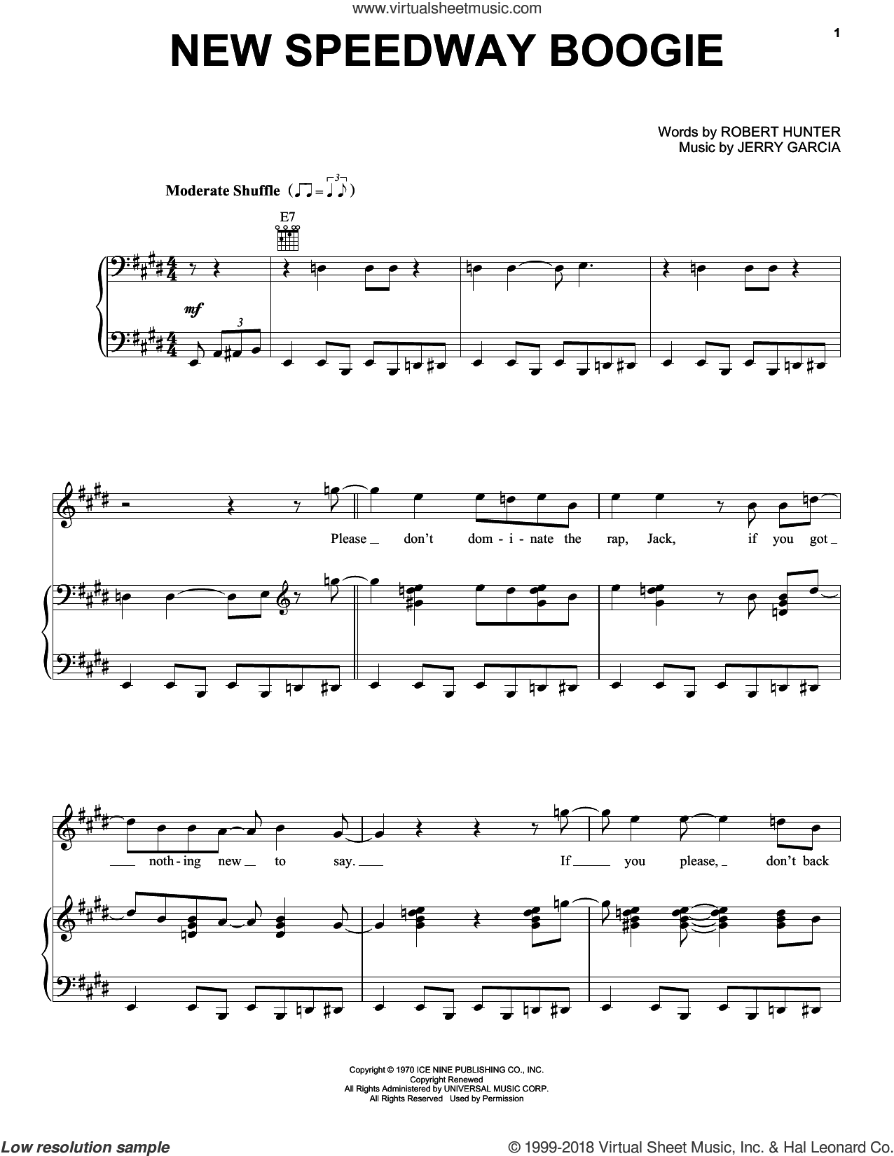 New Speedway Boogie sheet music for voice, piano or guitar by Grateful Dead. Score Image Preview.