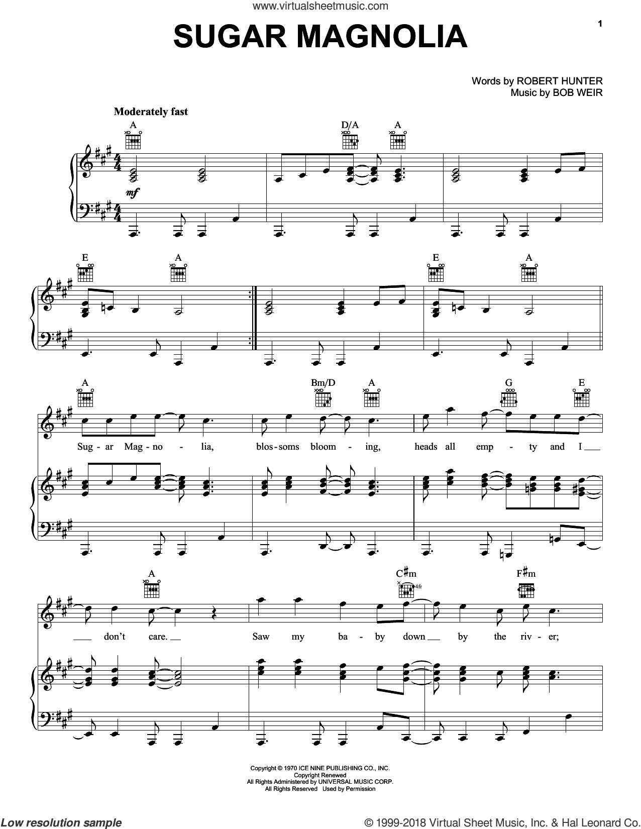 Sugar Magnolia sheet music for voice, piano or guitar by Grateful Dead, Bob Weir and Robert Hunter, intermediate skill level