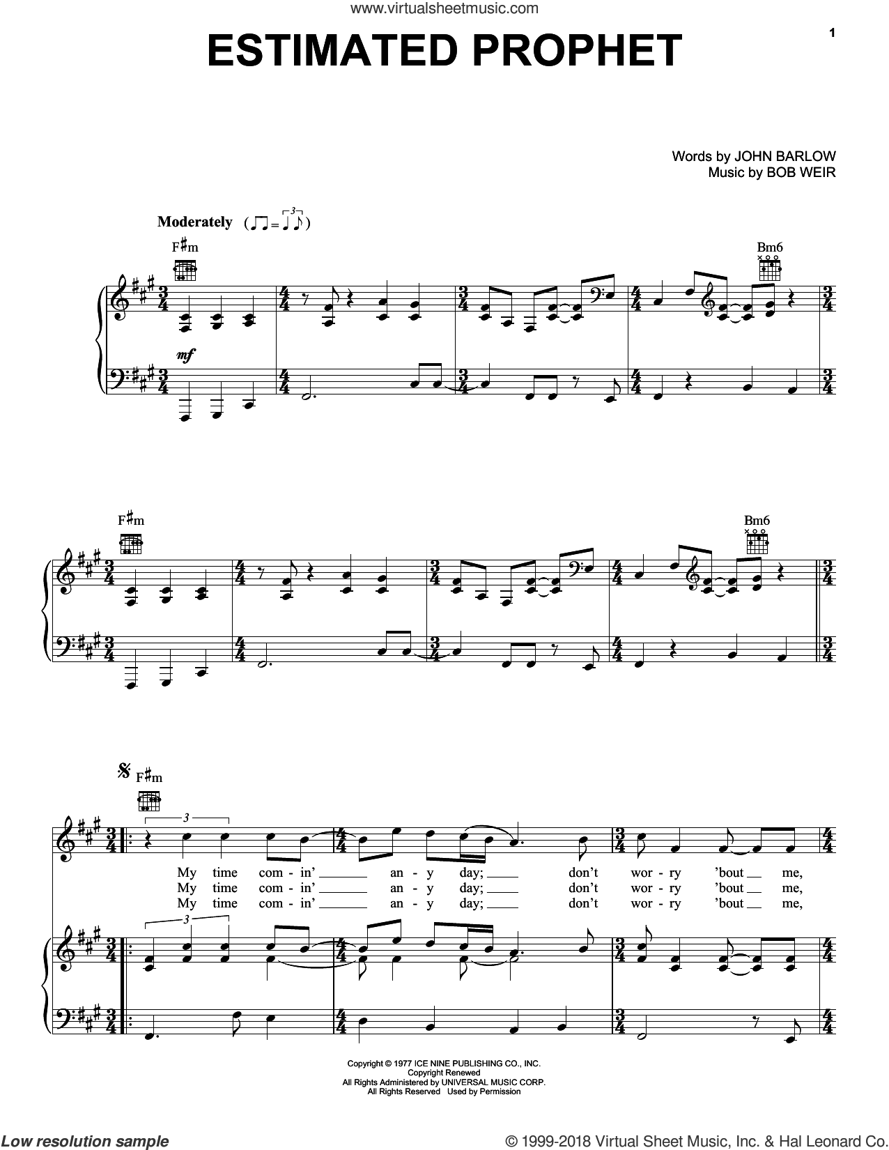 Estimated Prophet sheet music for voice, piano or guitar by John Barlow, Bob Weir and Grateful Dead. Score Image Preview.