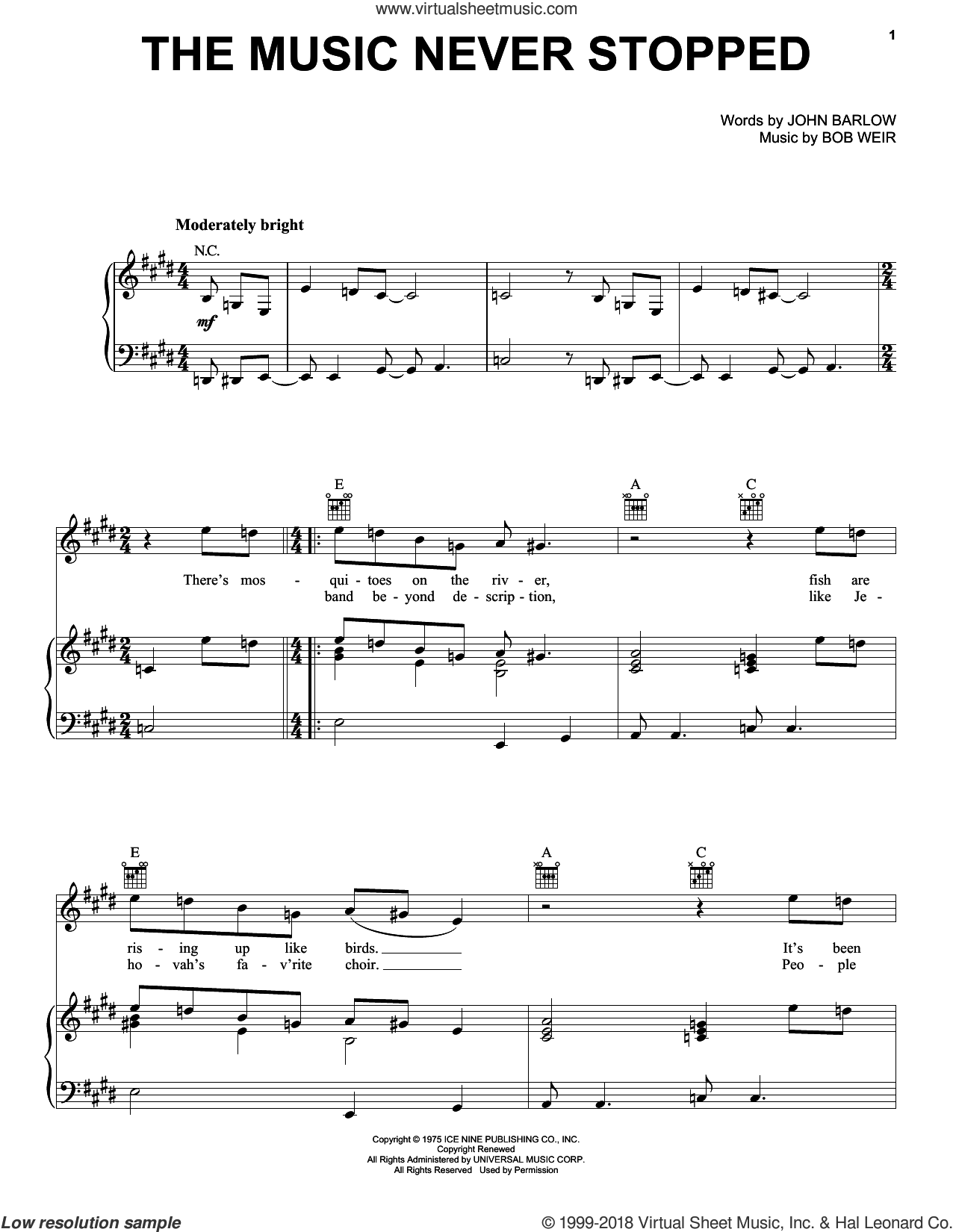 The Music Never Stopped sheet music for voice, piano or guitar by Grateful Dead, Bob Weir and John Barlow, intermediate skill level