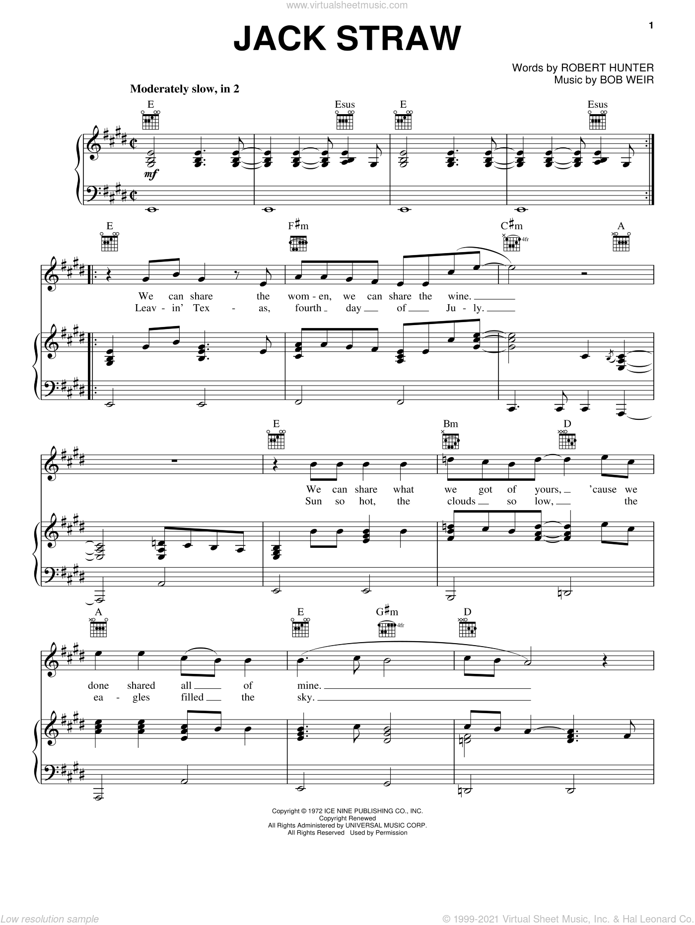 Jack Straw sheet music for voice, piano or guitar by Robert Hunter, Bob Weir and Grateful Dead. Score Image Preview.