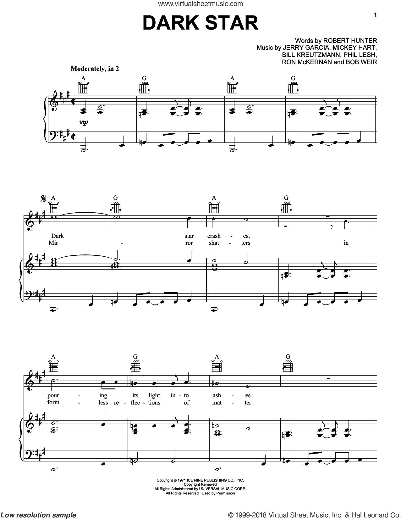 Dark Star sheet music for voice, piano or guitar by Grateful Dead, Bill Kreutzmann, Bob Weir, Jerry Garcia, Mickey Hart, Phil Lesh, Robert Hunter and Ron McKernan, intermediate skill level