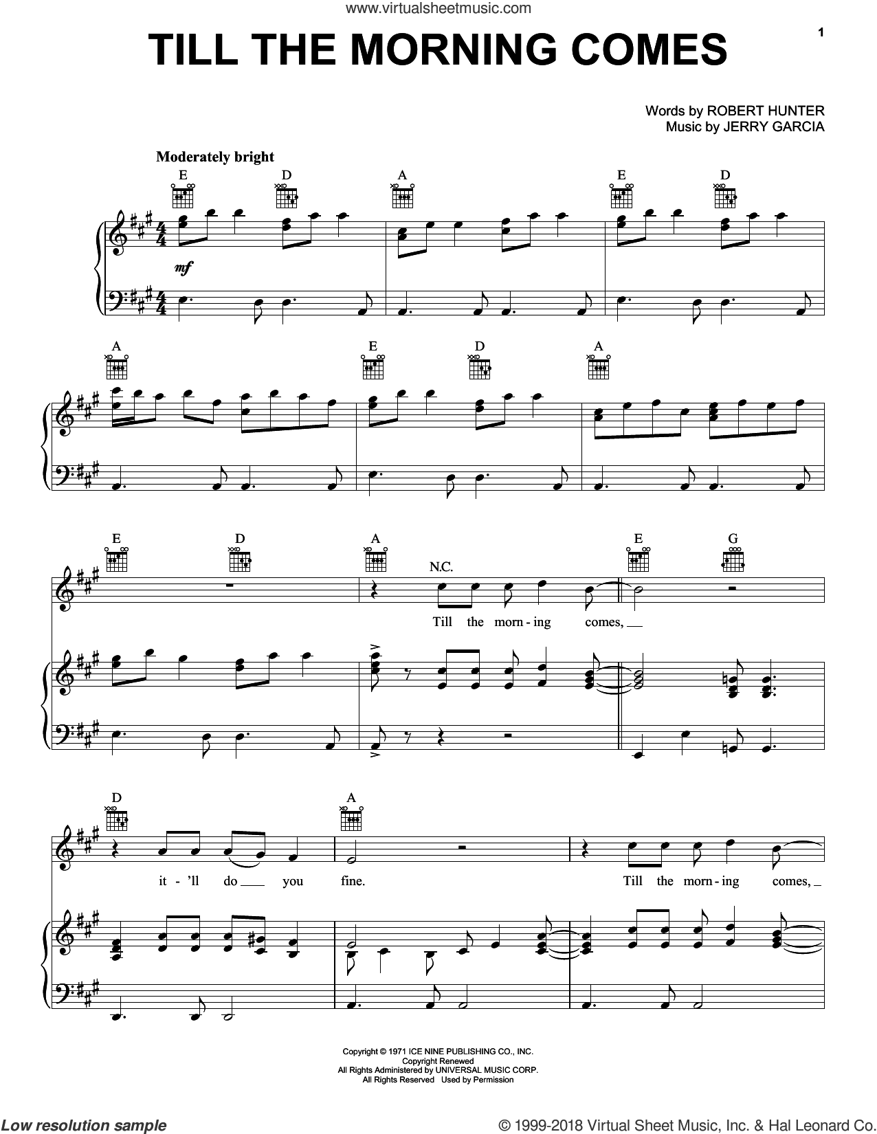 Till The Morning Comes sheet music for voice, piano or guitar by Grateful Dead, Jerry Garcia and Robert Hunter, intermediate skill level