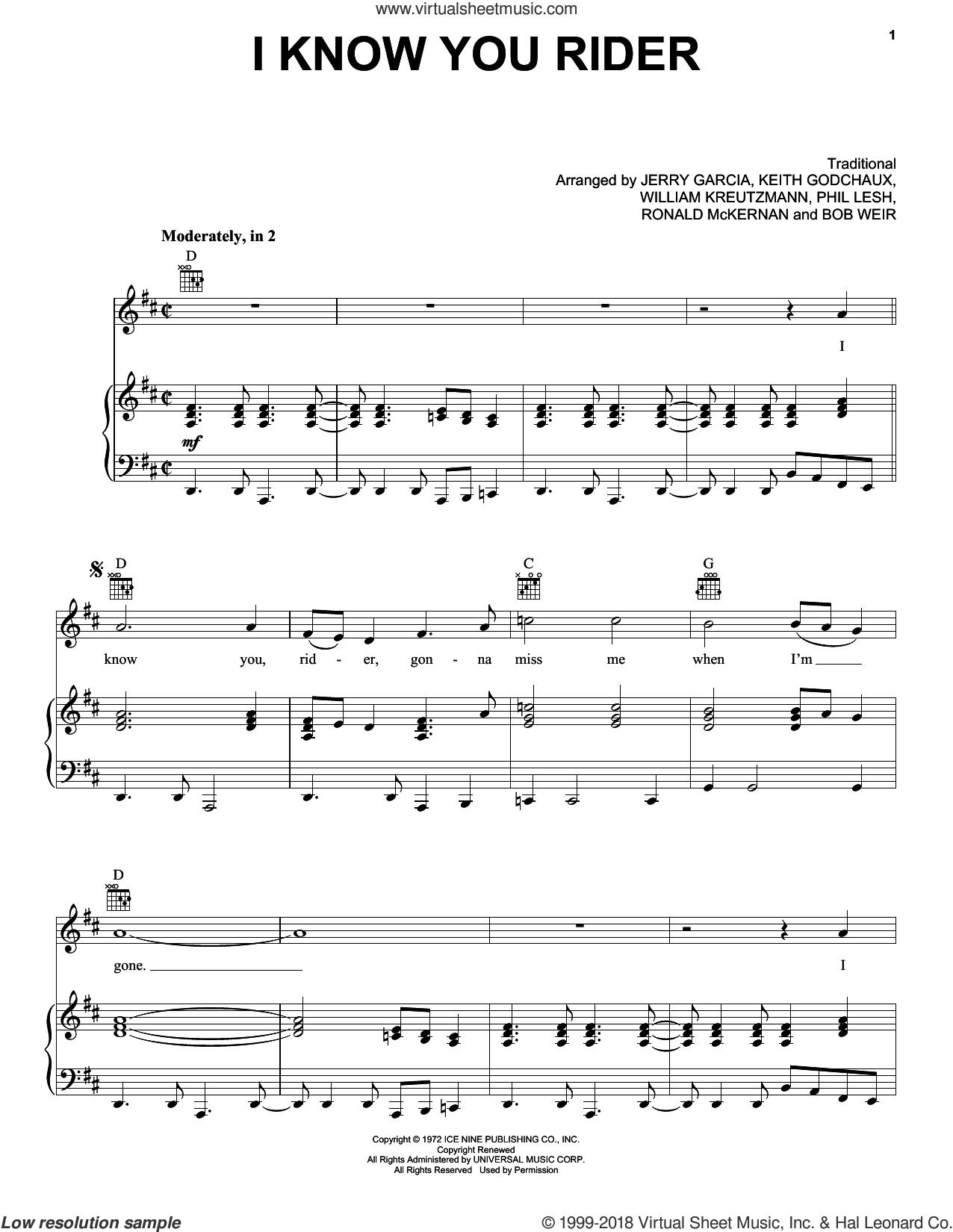 I Know You Rider sheet music for voice, piano or guitar by Grateful Dead, Bob Weir (arr.), Jerry Garcia (arr.), Keith Godchaux (arr.), Miscellaneous, Phil Lesh (arr.), Ronald McKernan (arr.) and William Kreutzmann (arr.), intermediate skill level