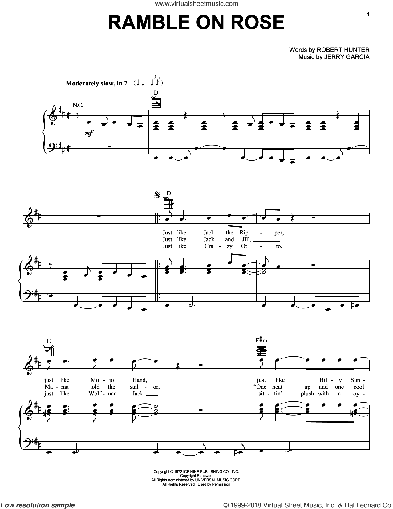 Ramble On Rose sheet music for voice, piano or guitar by Grateful Dead. Score Image Preview.
