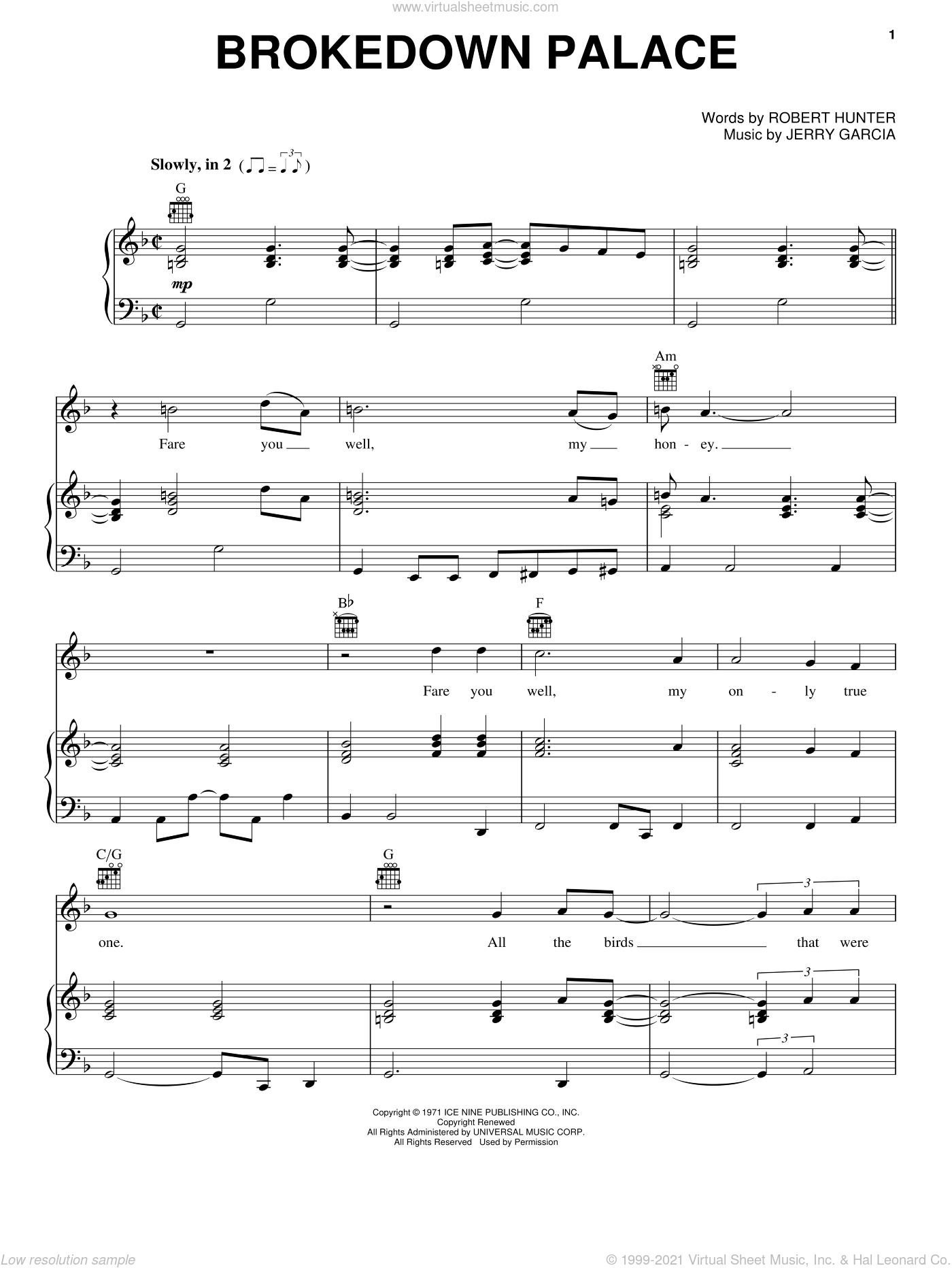 Brokedown Palace sheet music for voice, piano or guitar by Grateful Dead, Jerry Garcia and Robert Hunter, intermediate skill level