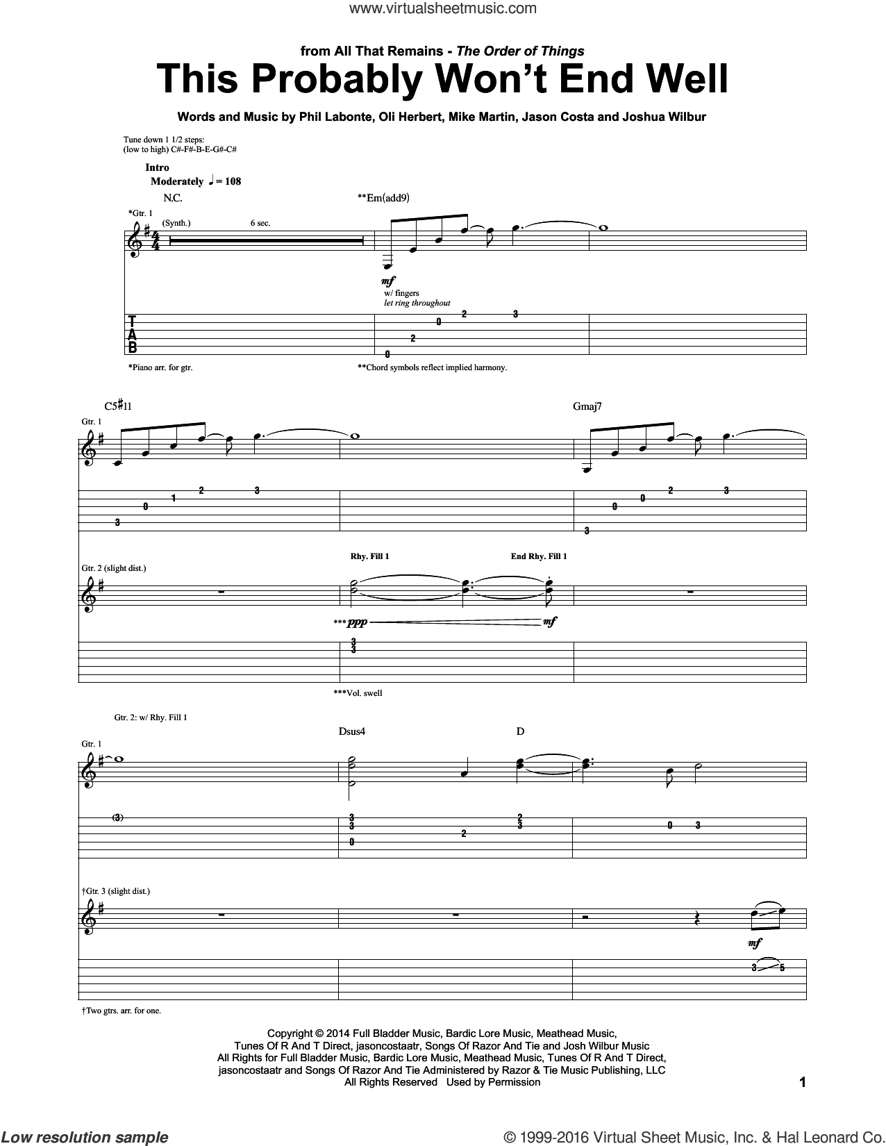 This Probably Won't End Well sheet music for guitar (tablature) by Phil Labonte, All That Remains and Mike Martin. Score Image Preview.