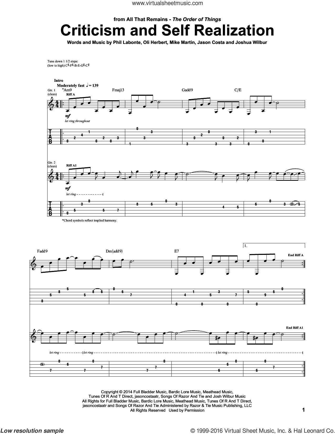 Criticism And Self Realization sheet music for guitar (tablature) by Phil Labonte, All That Remains and Mike Martin. Score Image Preview.