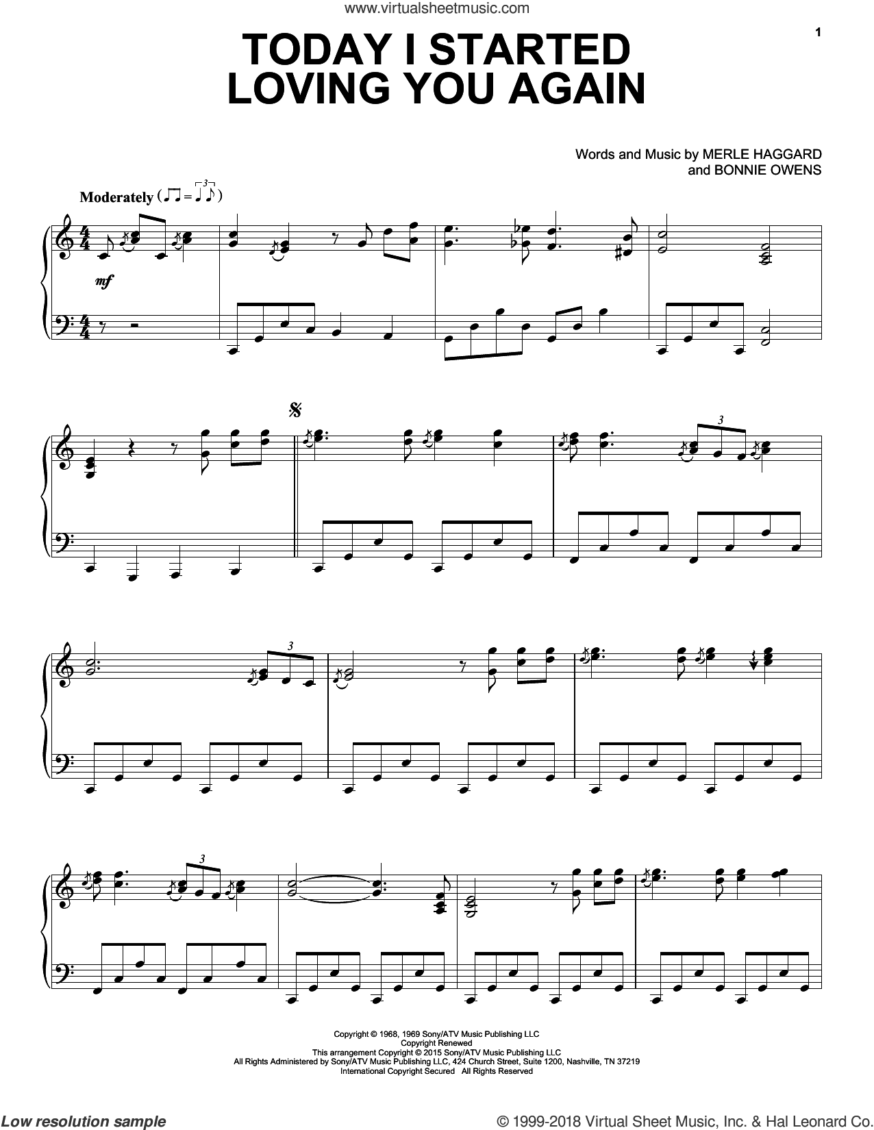 Today I Started Loving You Again sheet music for piano solo by Merle Haggard and Bonnie Owens, intermediate skill level