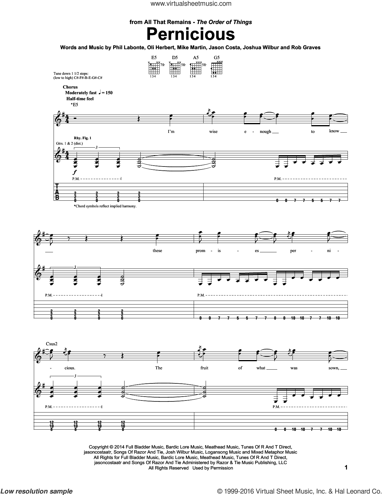 Pernicious sheet music for guitar (tablature) by All That Remains, Jason Costa, Joshua Wilbur, Mike Martin, Oli Herbert, Phil Labonte and Rob Graves, intermediate