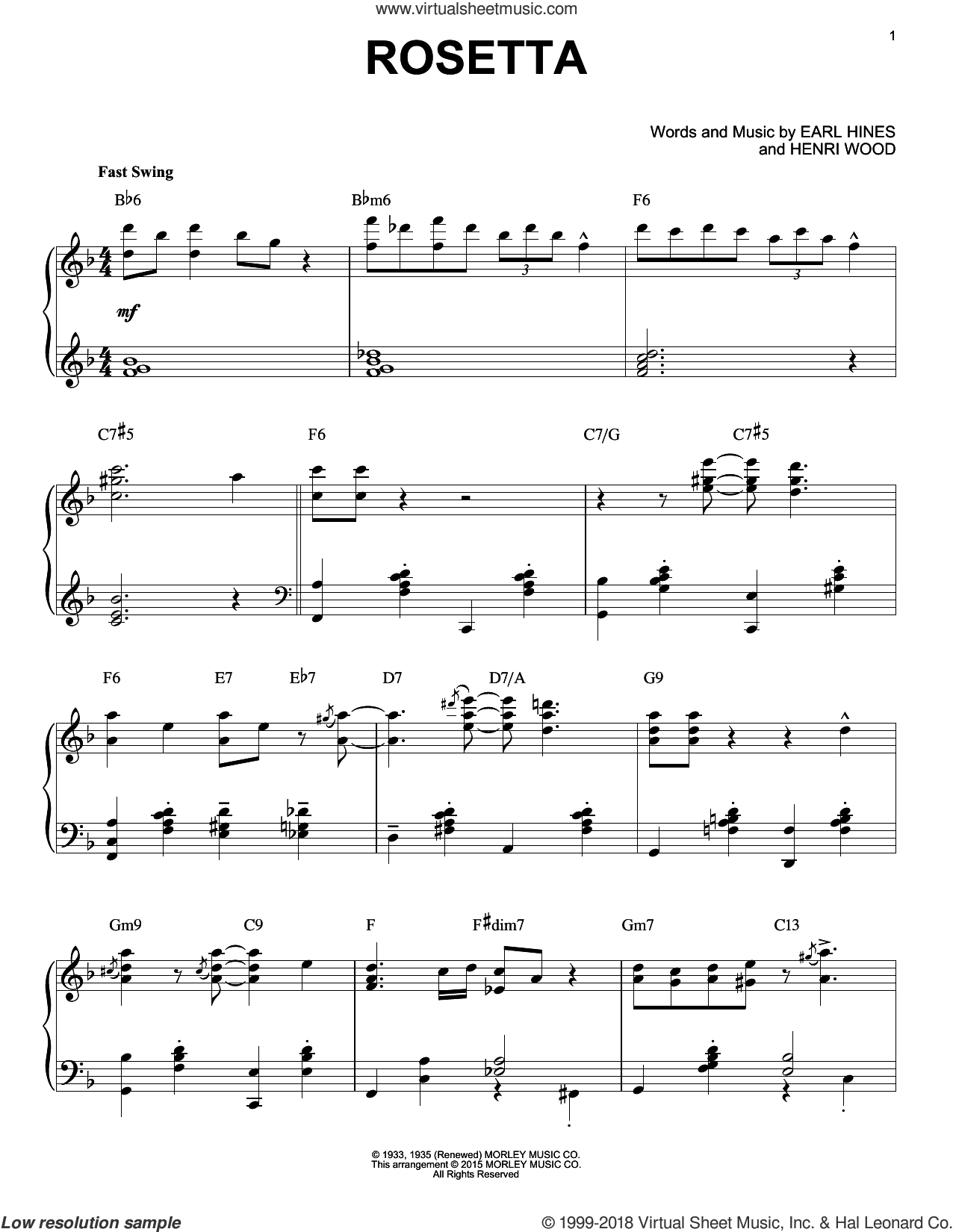 Rosetta [Stride version] (arr. Brent Edstrom) sheet music for piano solo by Henri Wood and Earl Hines, intermediate skill level